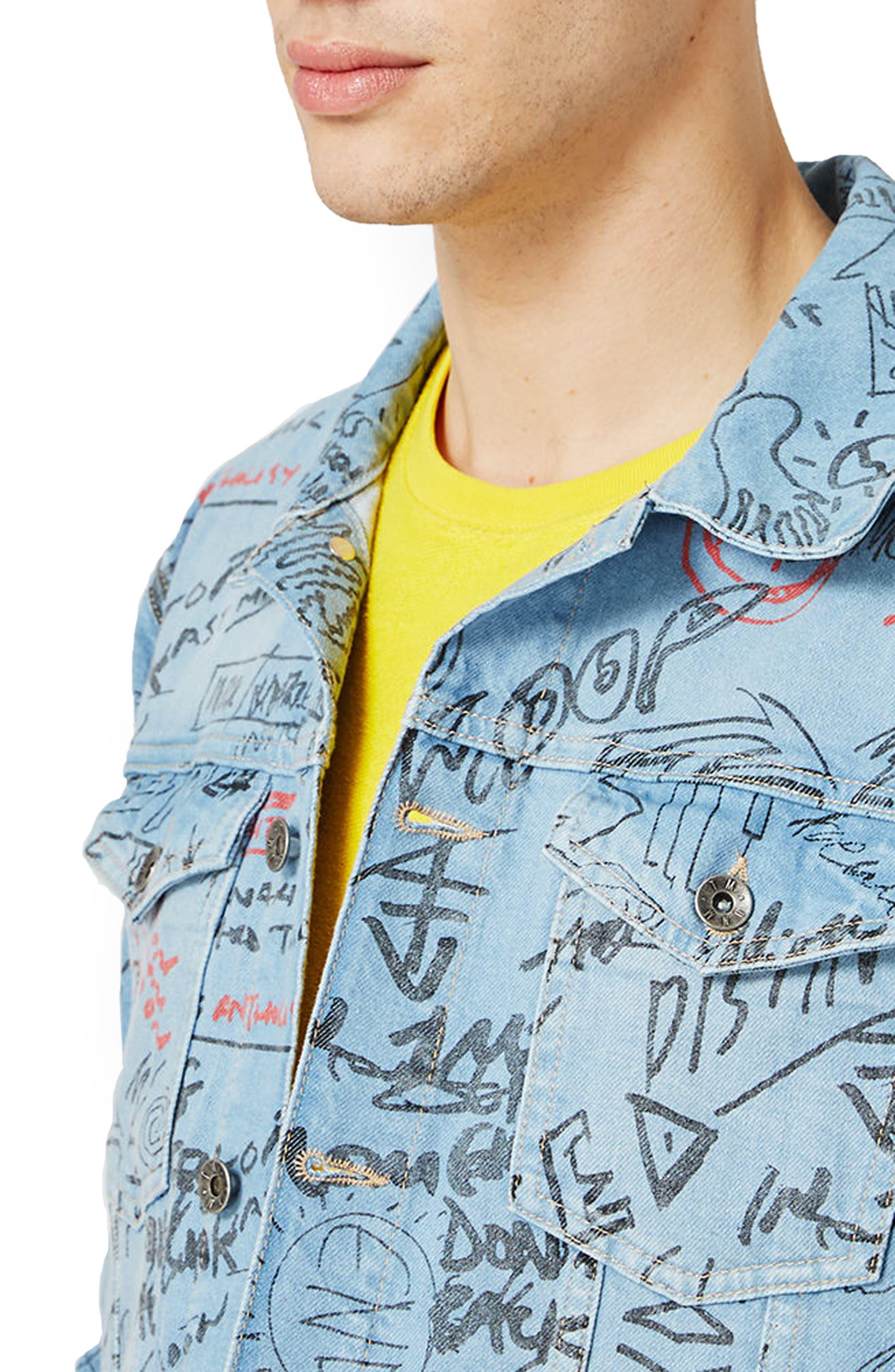 Alternate Image 4  - Topman Doodle Denim Jacket