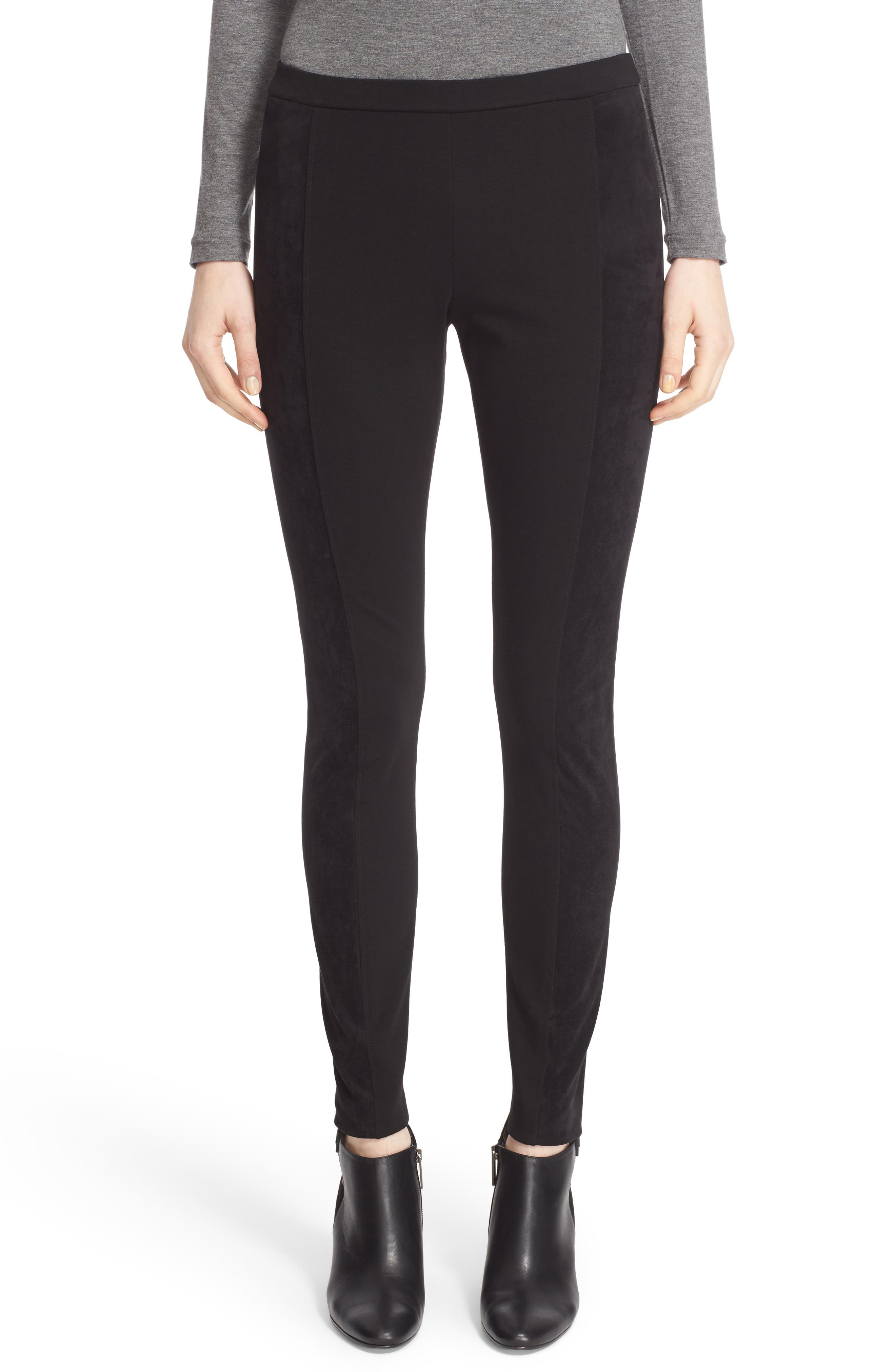 Lafayette 148 New York Punto Milano Faux Suede Paneled Leggings(Nordstrom Exclusive)