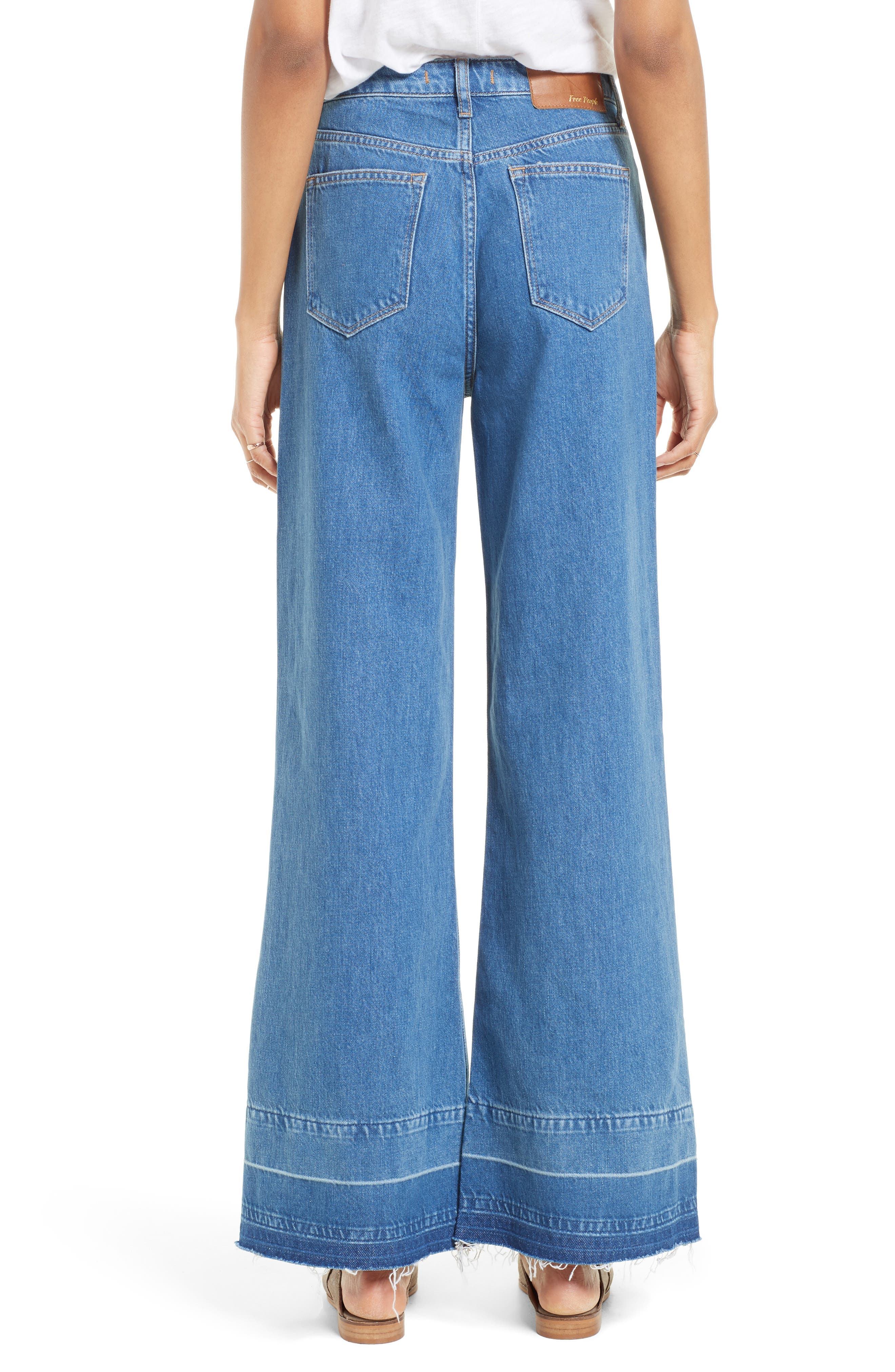 Alternate Image 3  - Free People The Wideleg High Waist Patchwork Jeans