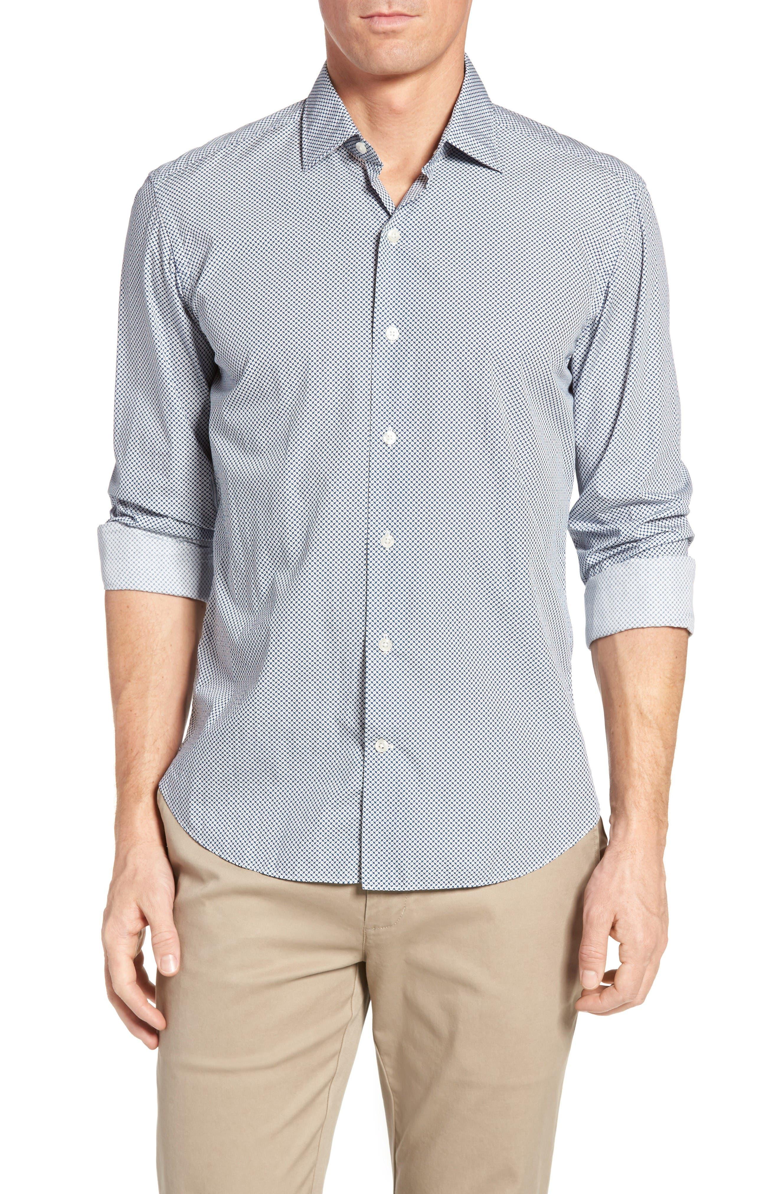 Culturata Slim Fit Geo Print Sport Shirt