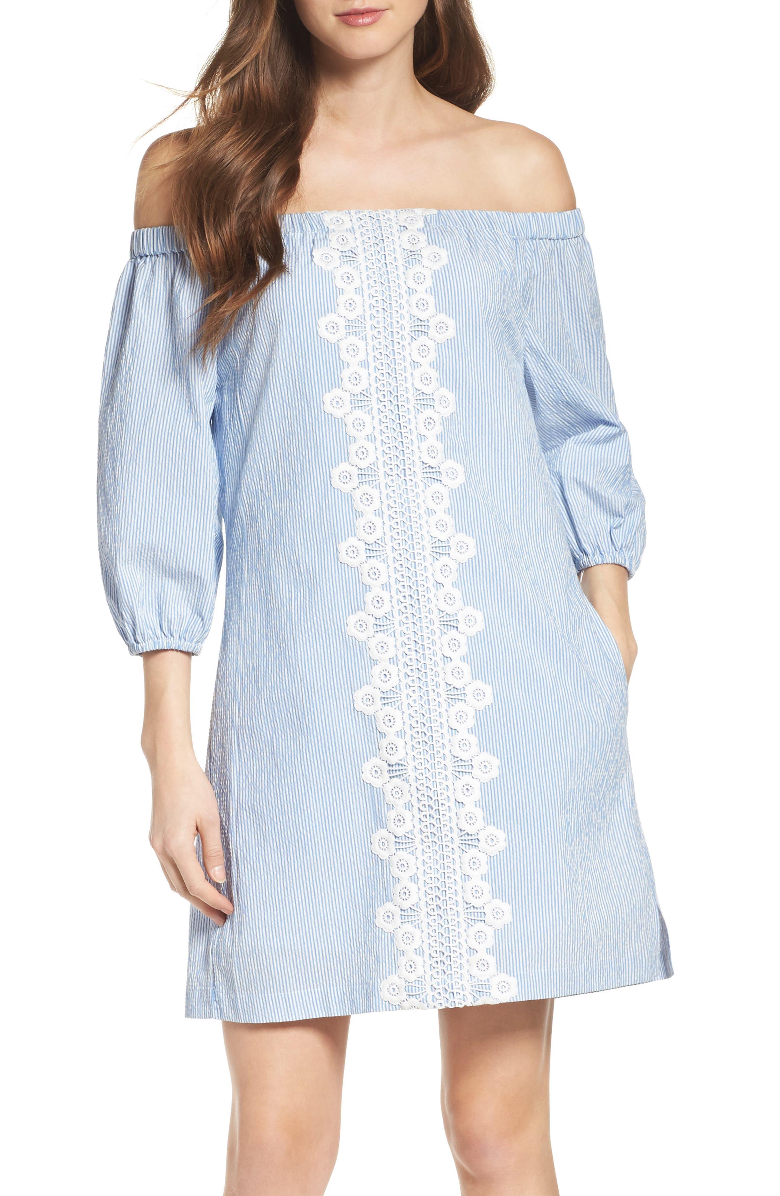 Main Image - Eliza J Lace Trim Seersucker Off the Shoulder Dress (Regular & Petite)