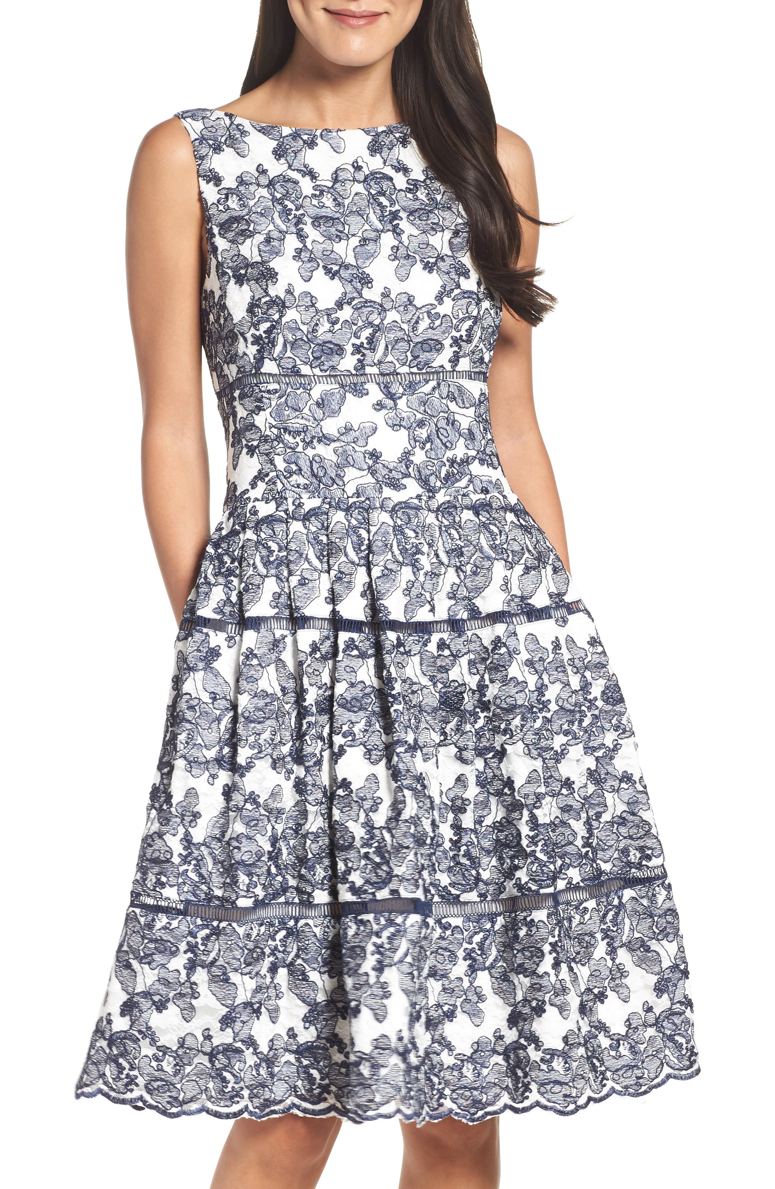 Eliza J Embroidered Lace Midi Dress (Regular & Petite)