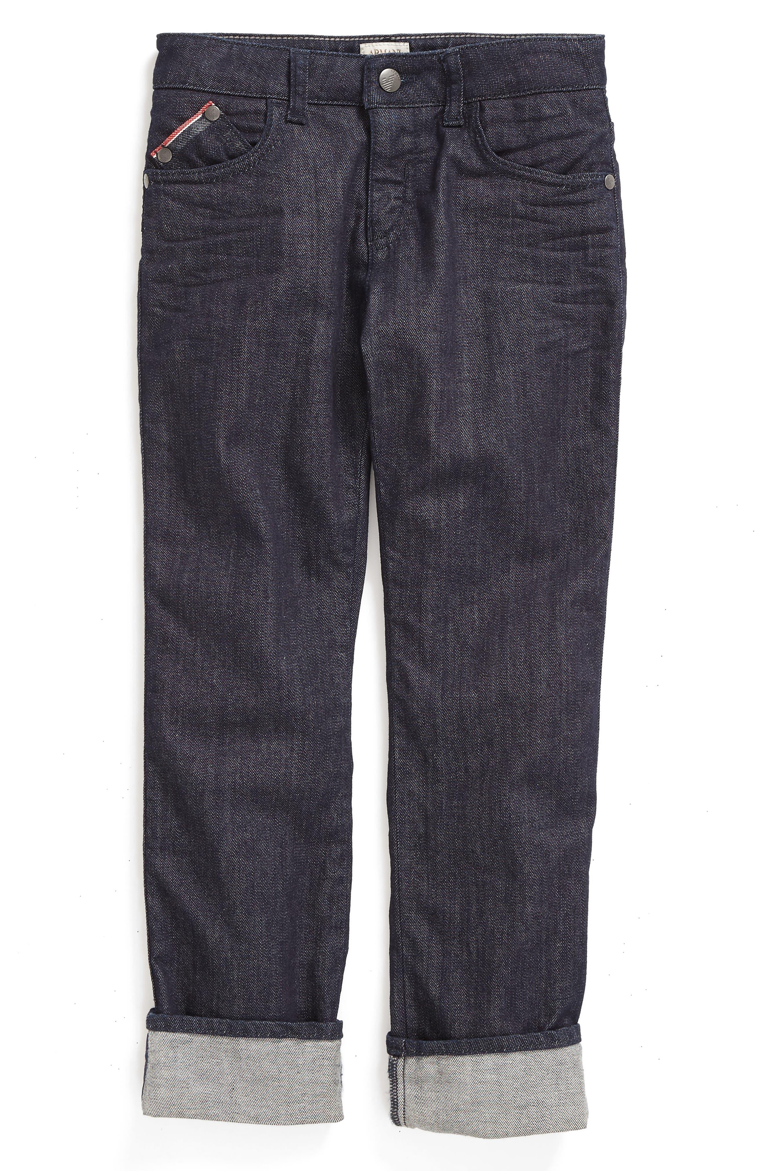 Armani Junior Cuffed Straight Leg Jeans (Little Boys & Big Boys)