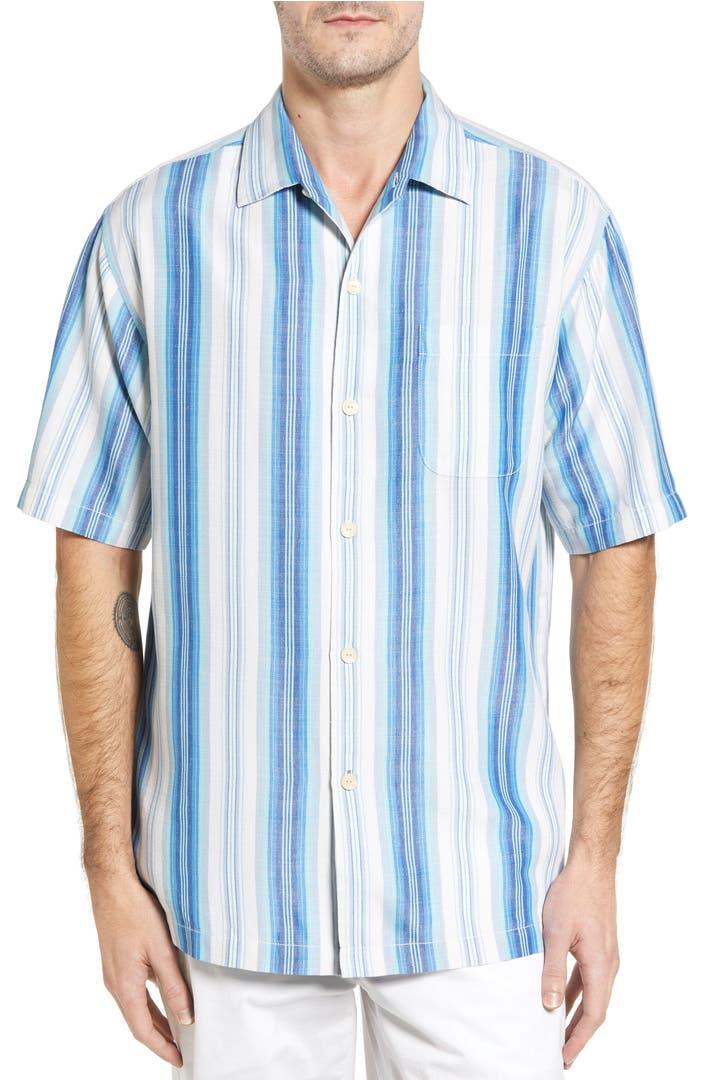 Tommy Bahama Socrates Stripe Silk Shirt Big Tall