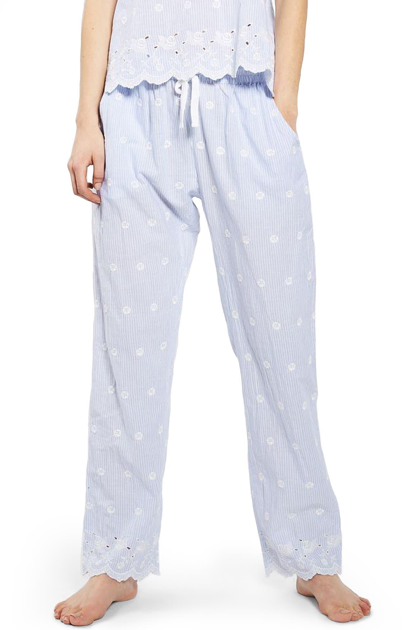 Alternate Image 1 Selected - Topshop Embroidered Stripe Pajama Pants