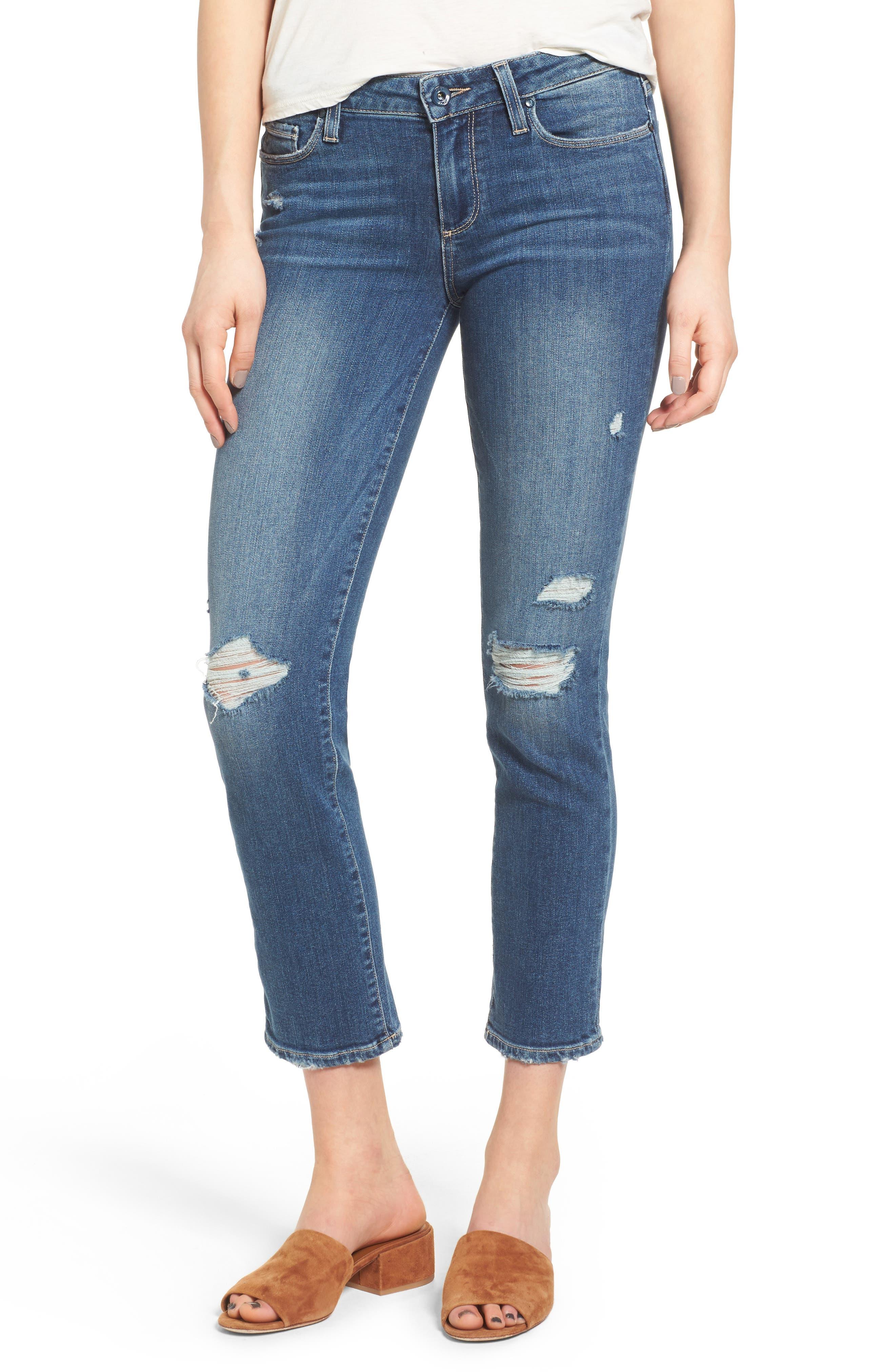 Alternate Image 1 Selected - PAIGE Miki Crop Straight Leg Jeans (Destructed Blue)