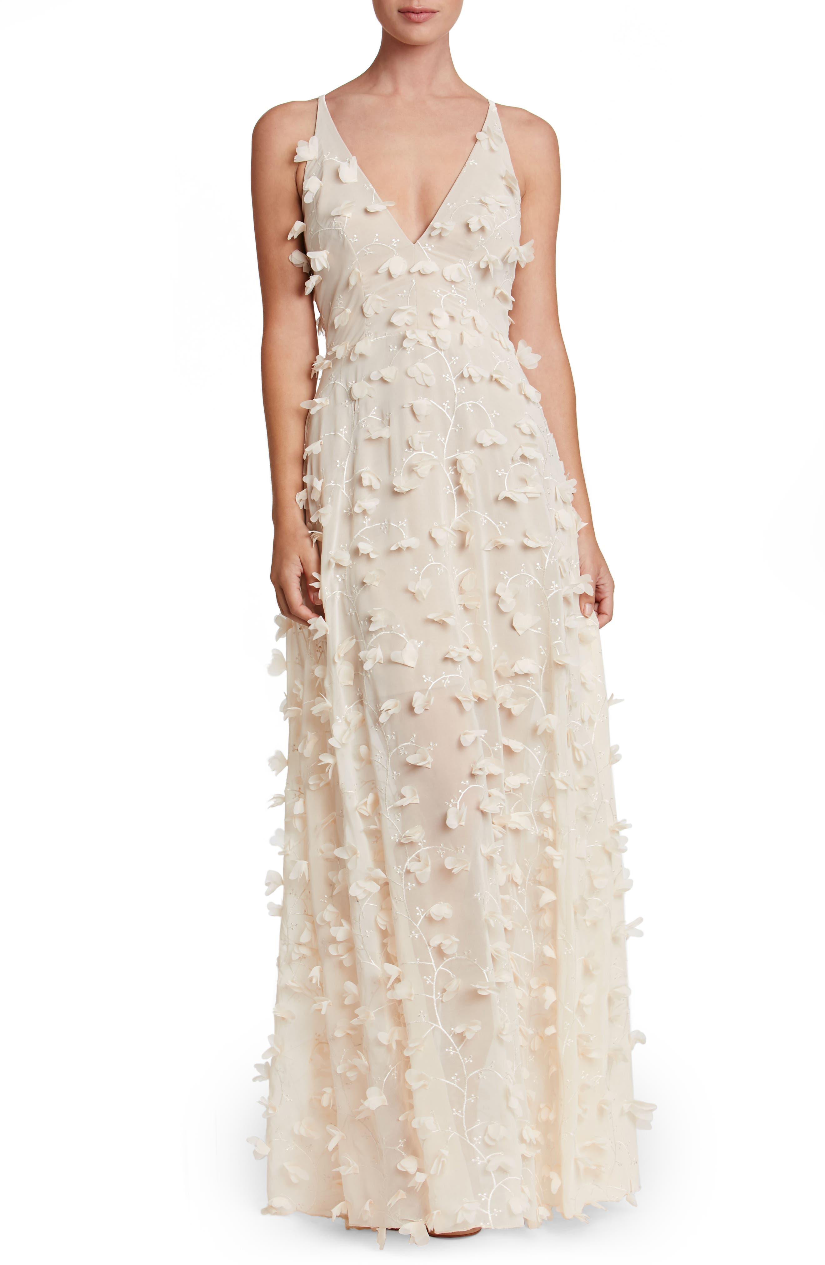 Dress the Population Fleur Floral Appliqué Gown