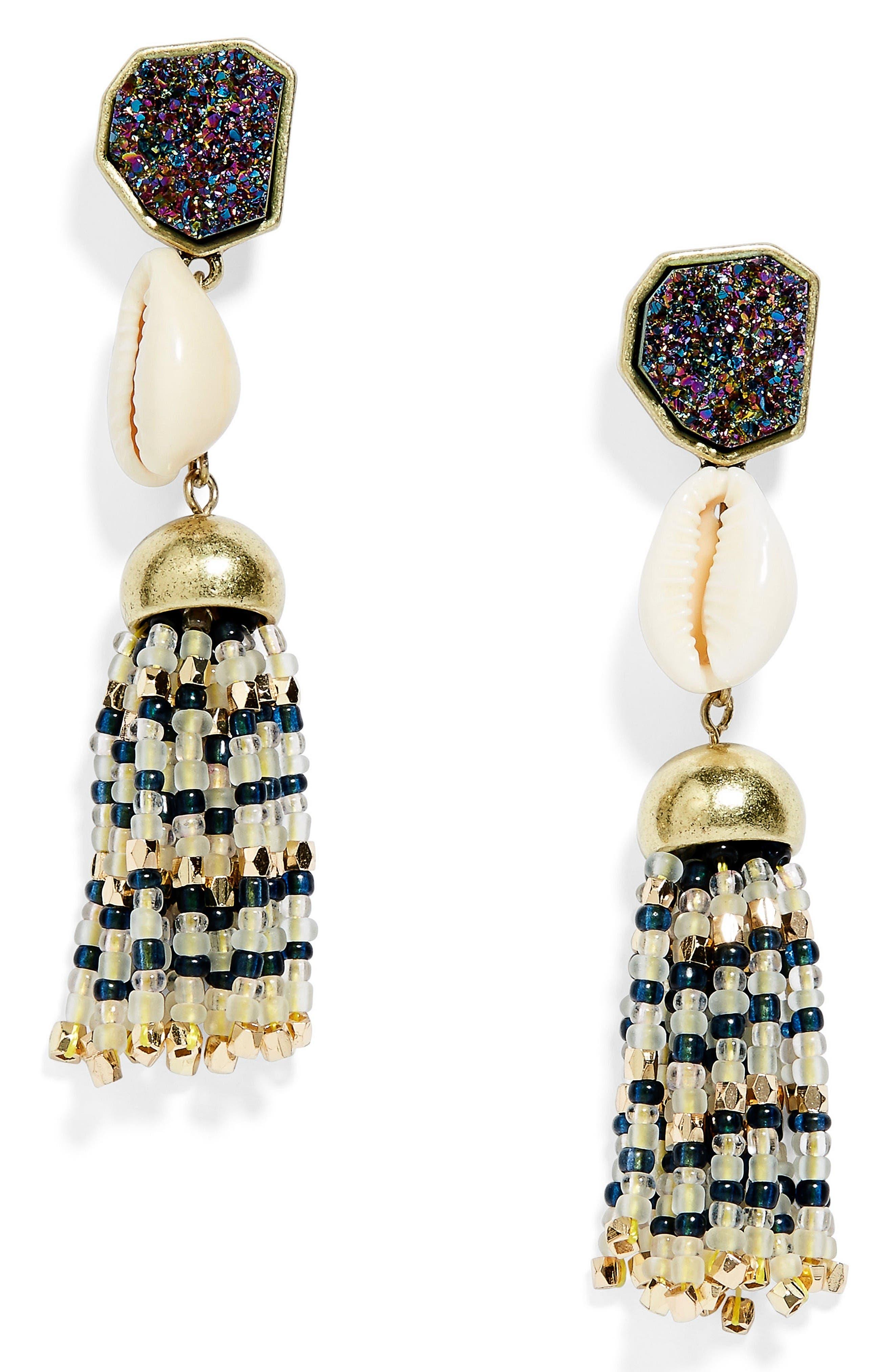 Main Image - BaubleBar Conch Tassel Drop Earrings