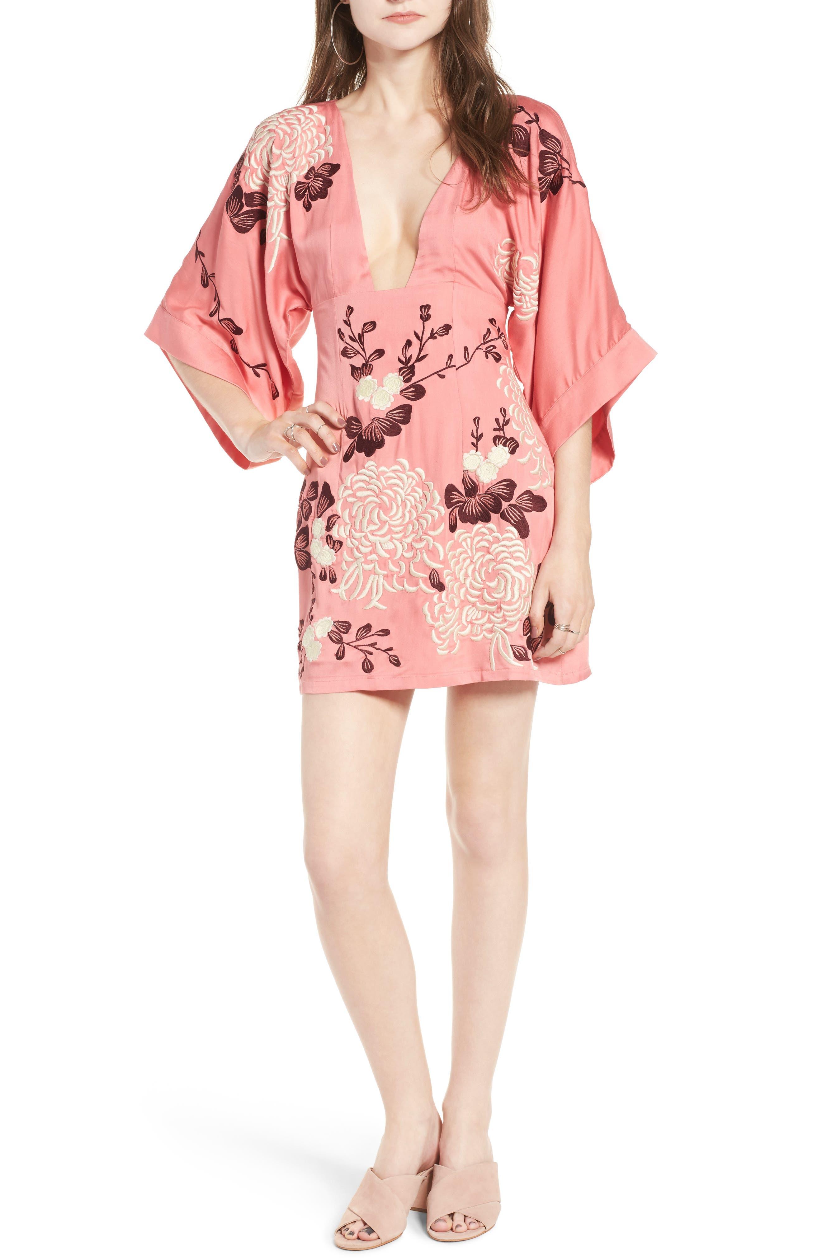Majorelle Windmill Embroidered Kimono Sleeve Dress