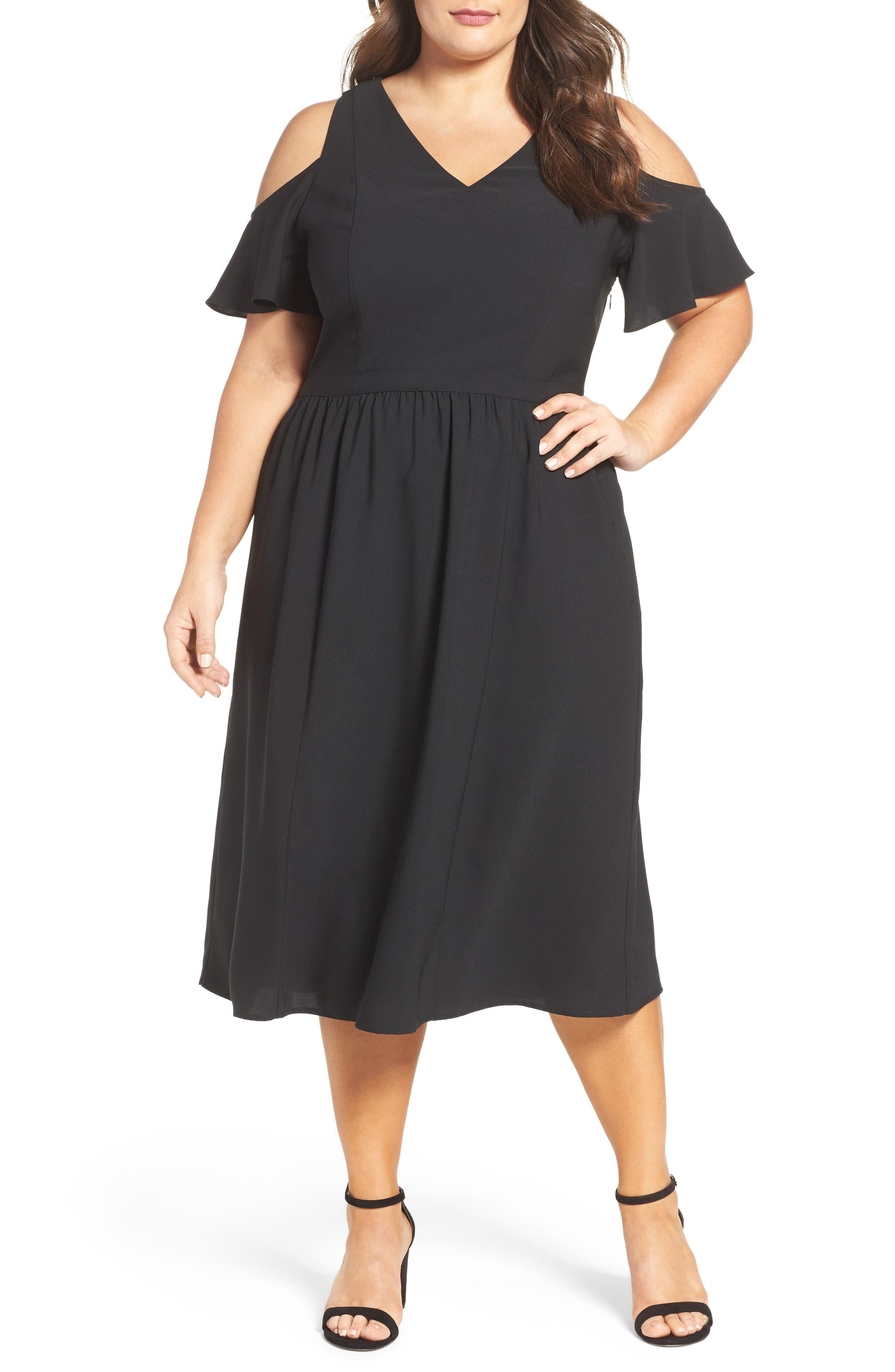 Sejour Cold Shoulder Midi Dress (Plus Size)
