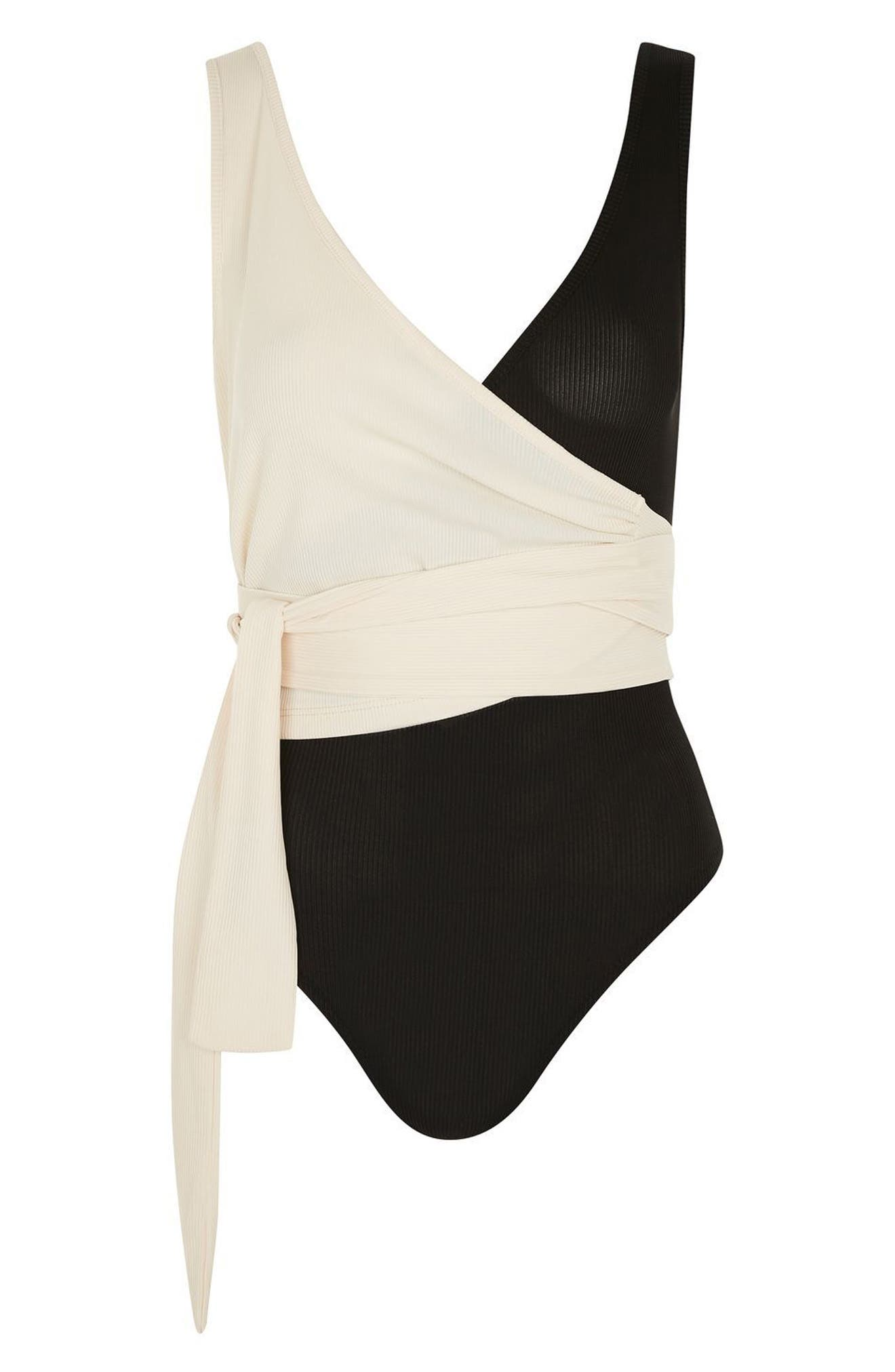 Alternate Image 4  - Topshop Colorblock Wrap Bodysuit