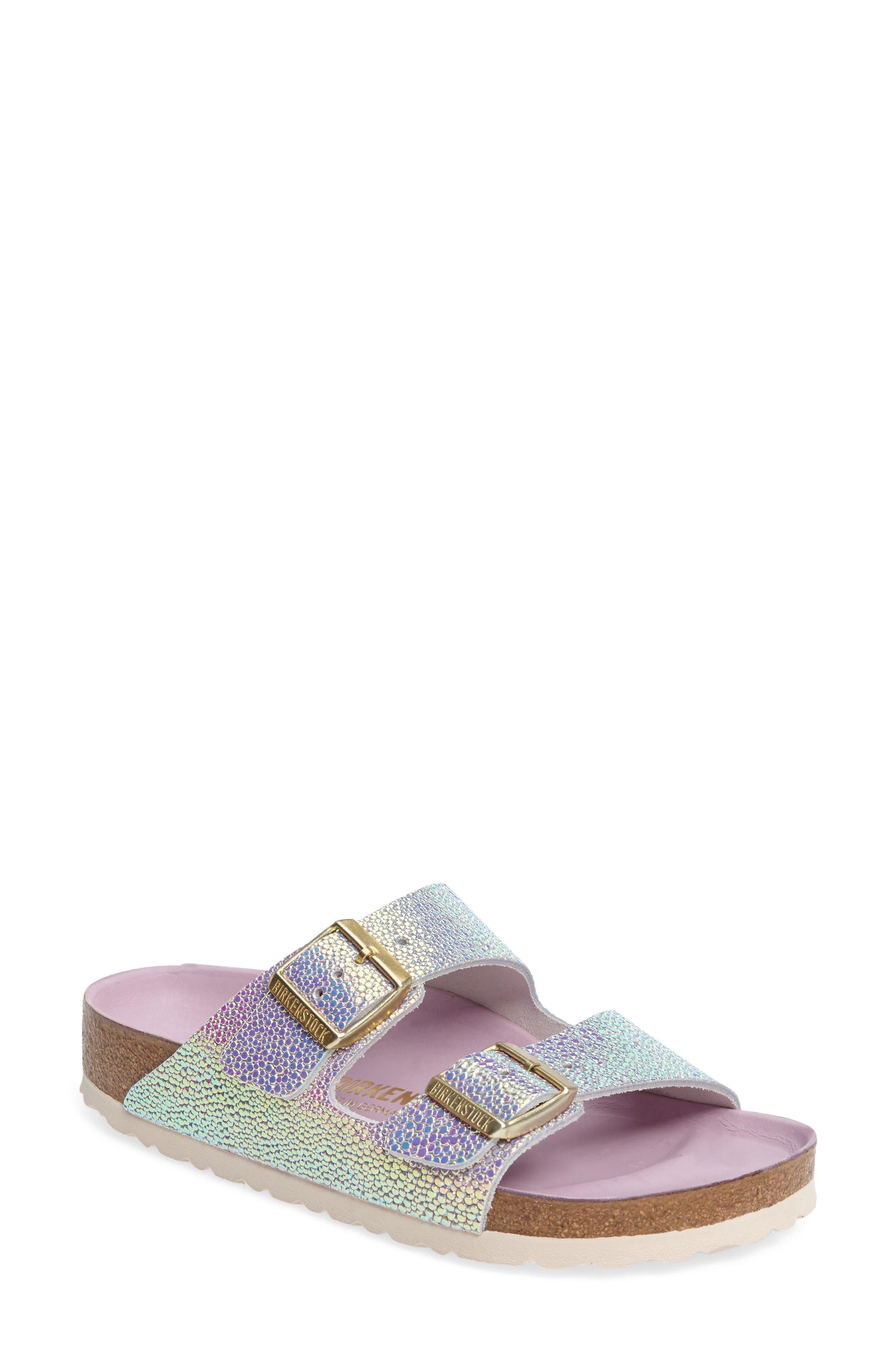 Alternate Image 1 Selected - Birkenstock Arizona Lux Iridescent Slide Sandal (Women)