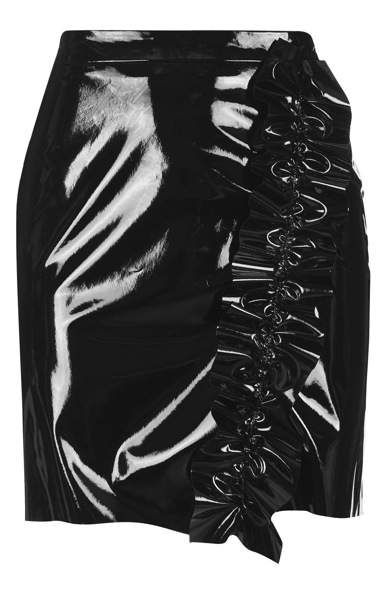 Alternate Image 4  - Topshop Ruffle Vinyl Miniskirt