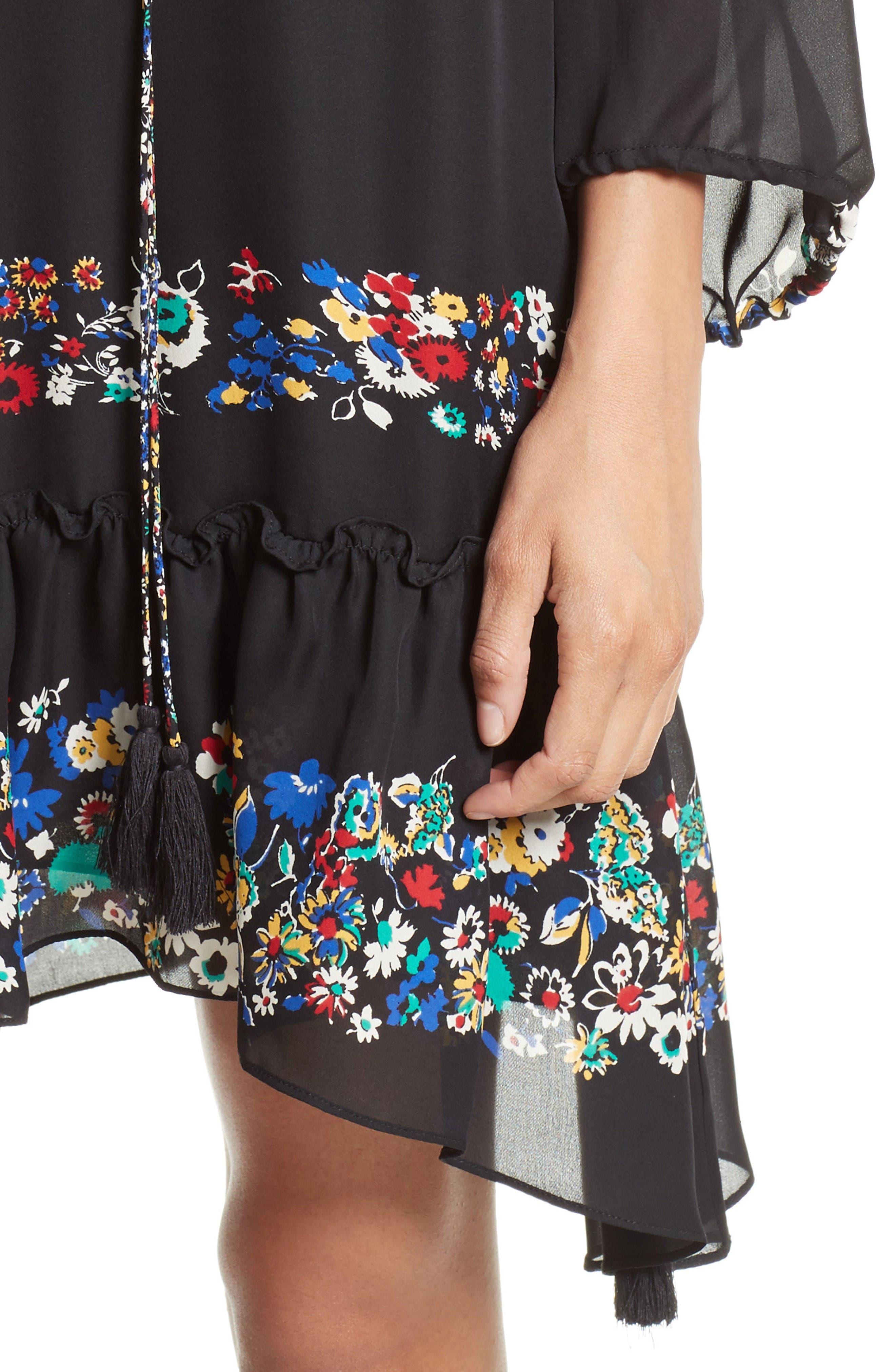 Alternate Image 4  - Derek Lam 10 Crosby Floral Stripe Ruffle Silk Dress