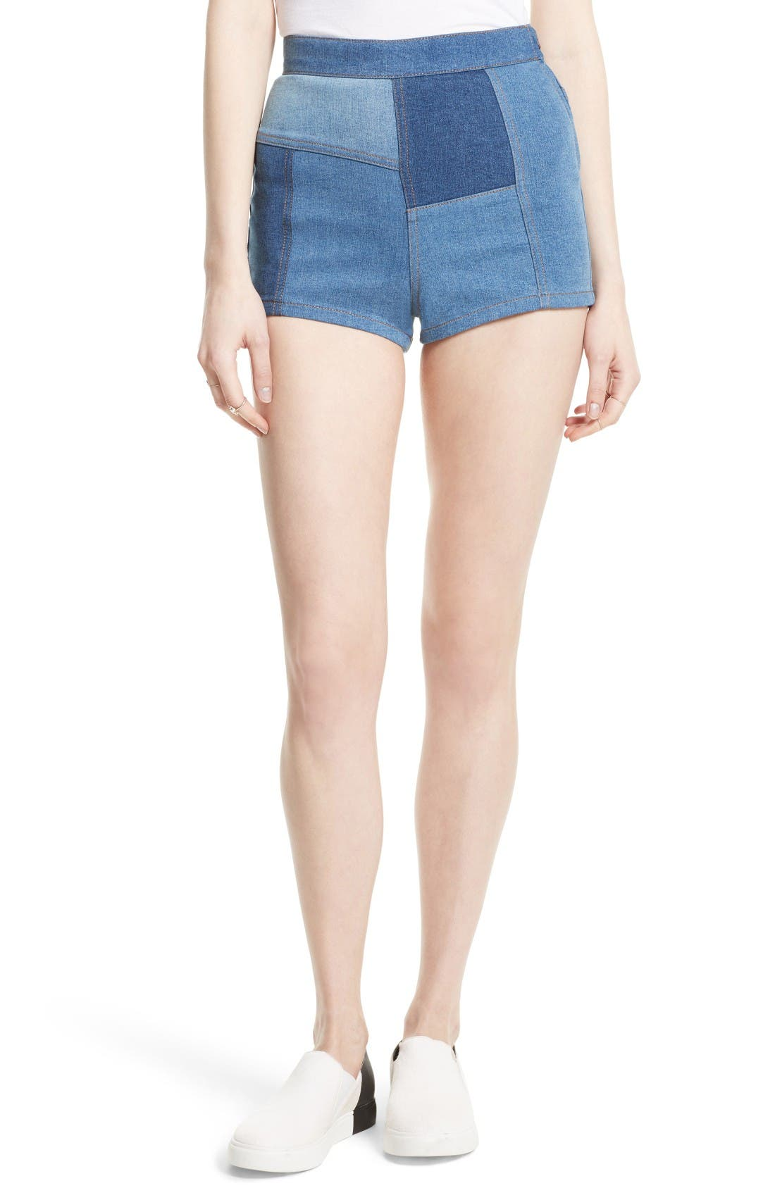 Free People High & Tight Patchwork Denim Shorts