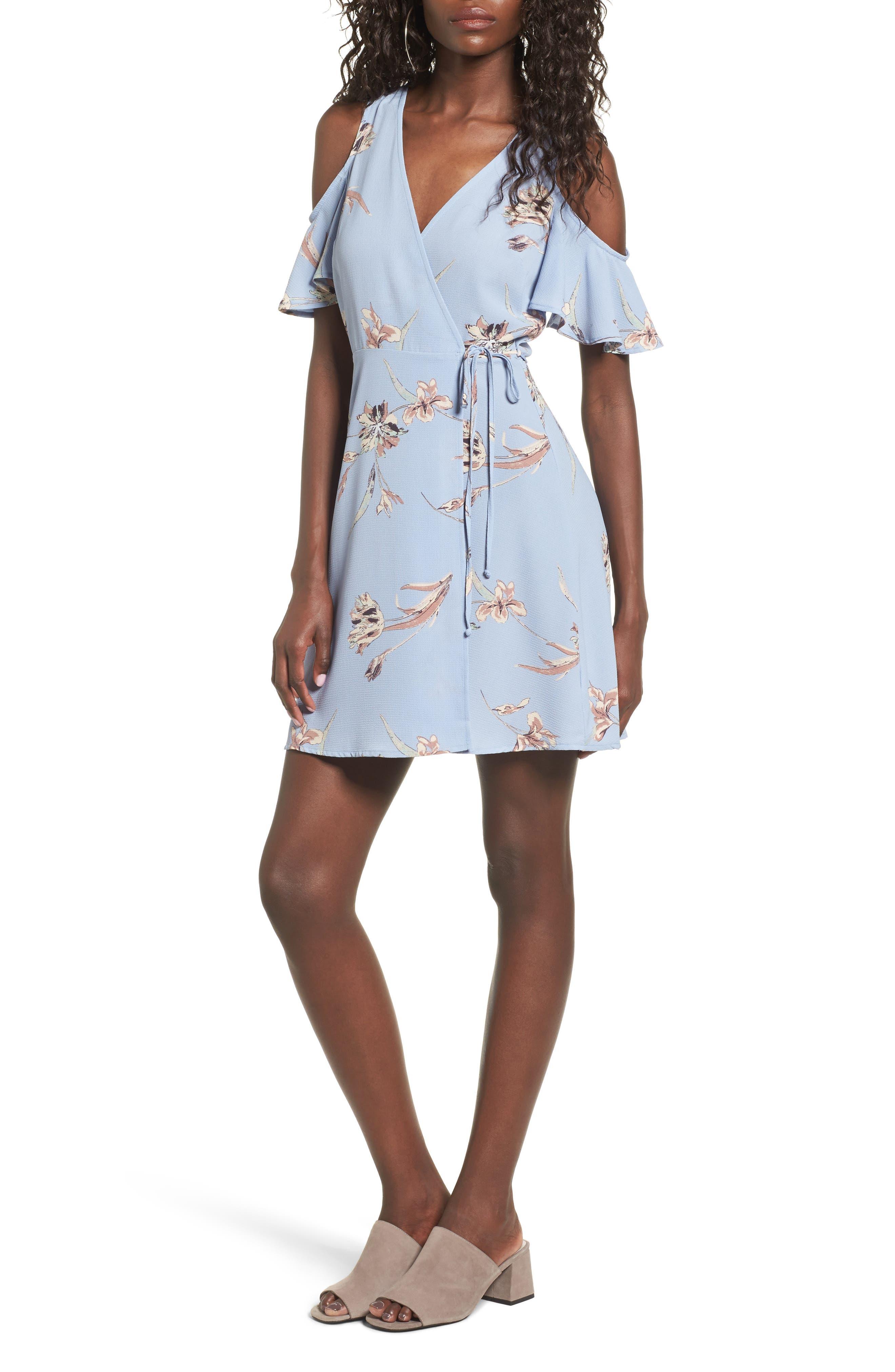 Main Image - Lush Floral Print Cold Shoulder Wrap Dress