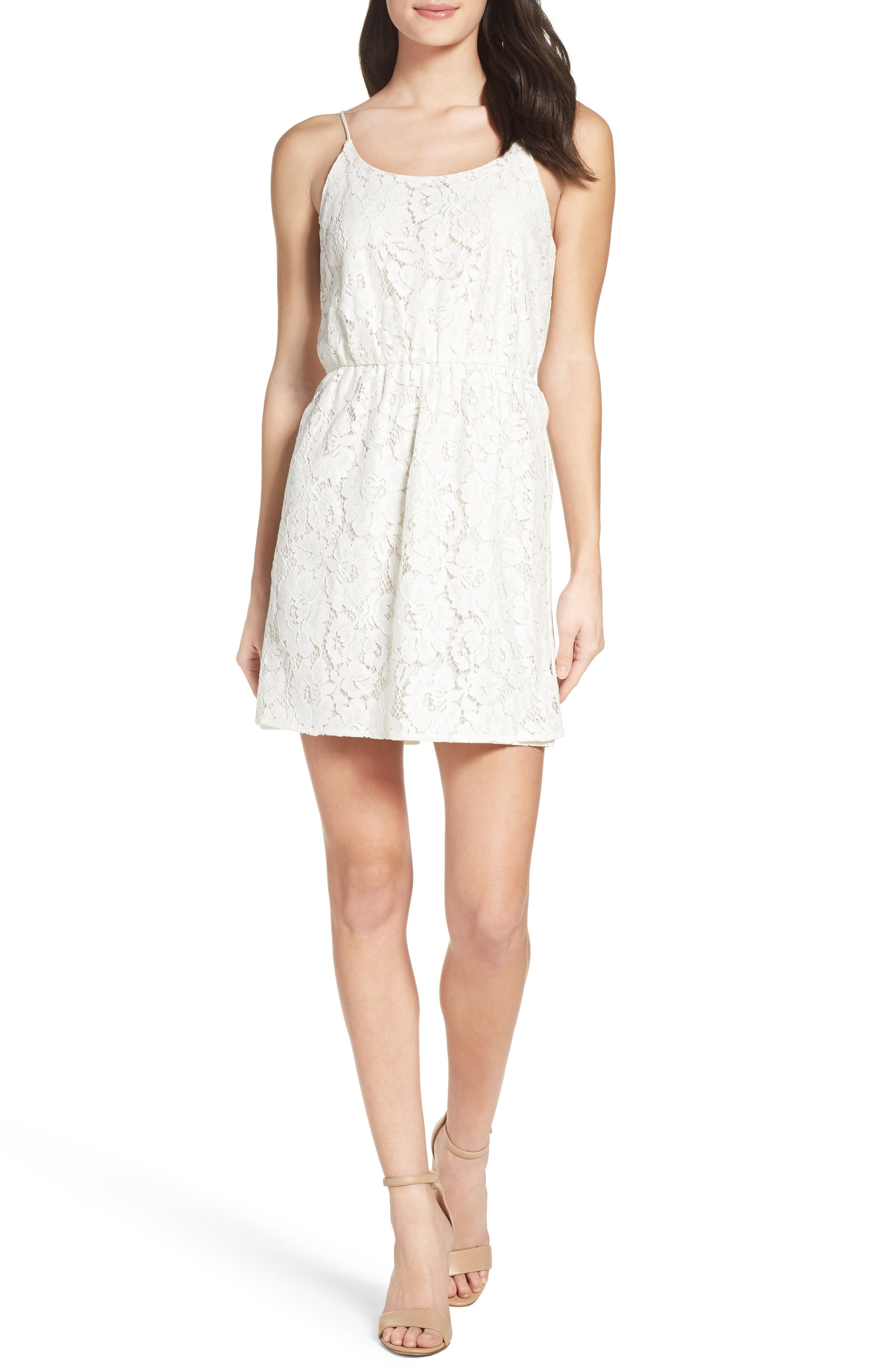 Charles Henry Cami Lace Fit & Flare Dress