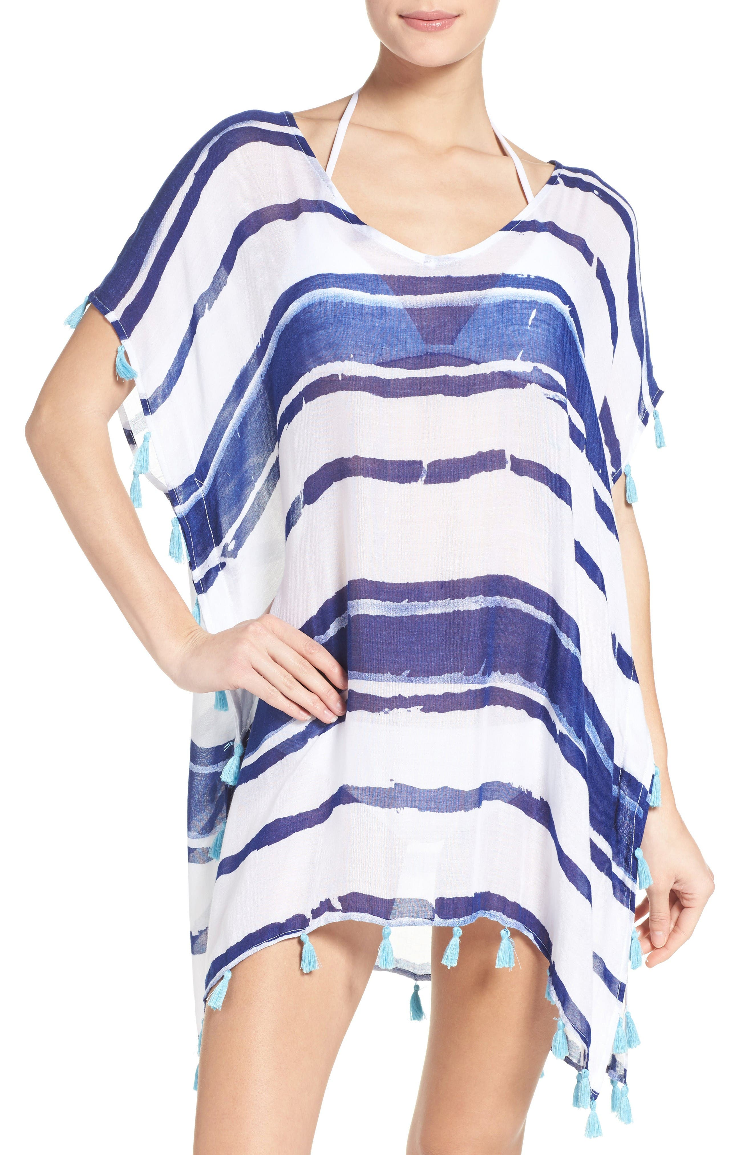 Main Image - Surf Gypsy Stripe Tassel Cover-Up Poncho