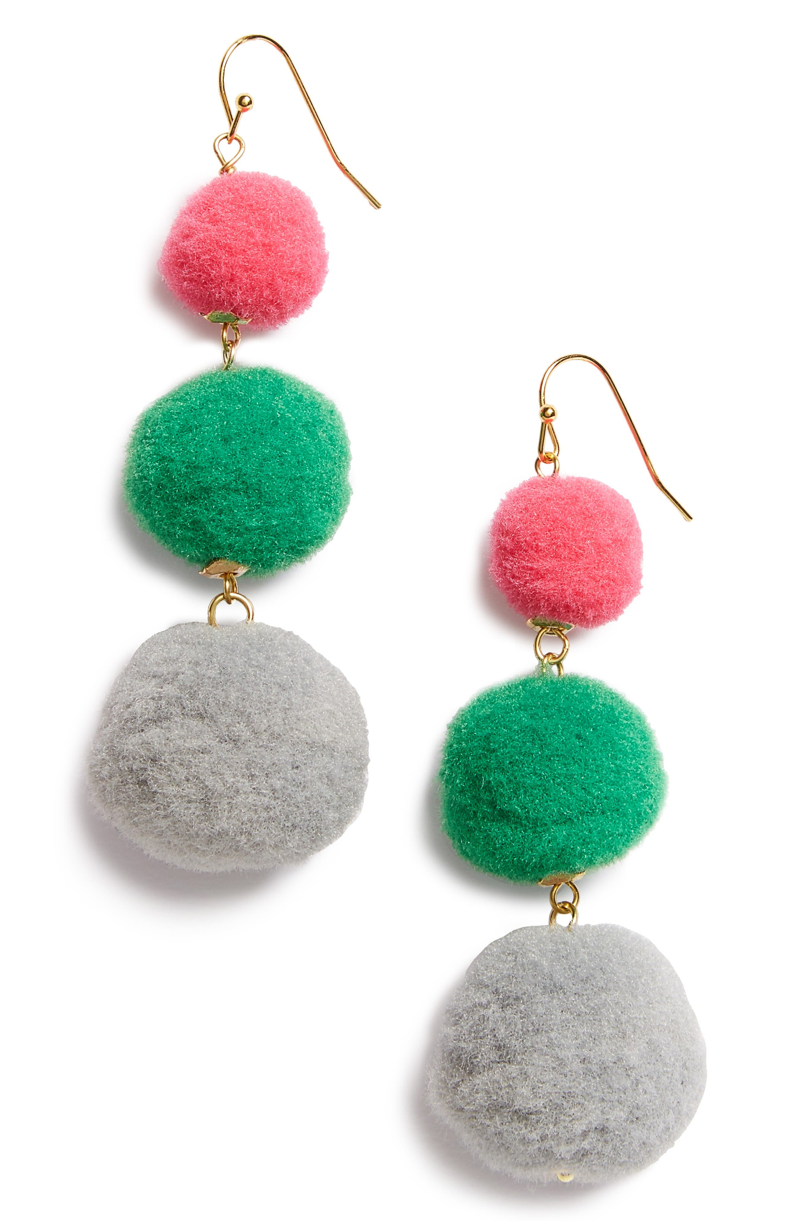 Panacea Pompom Drop Earrings