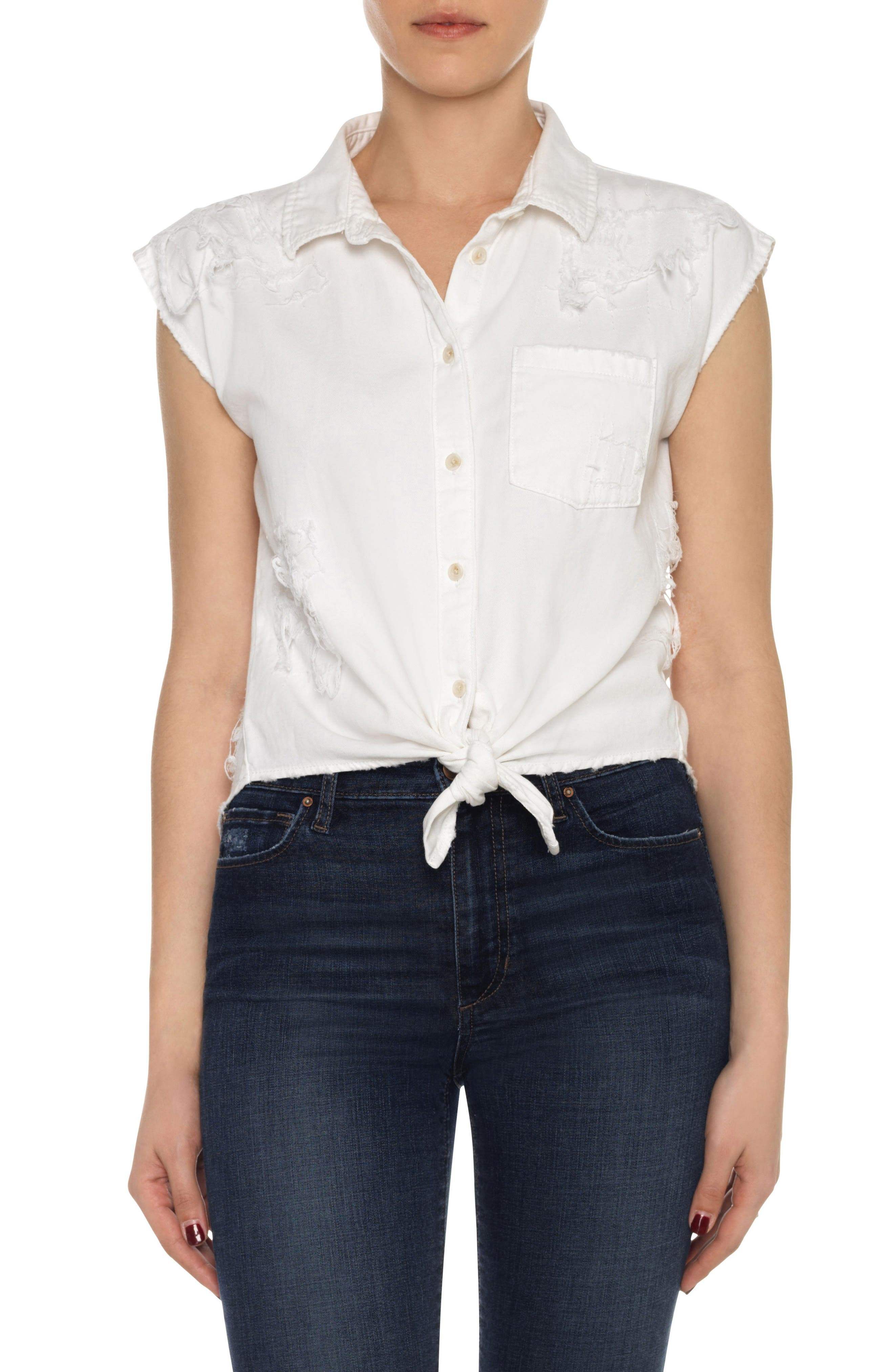 Joe's Vivian Distressed Cotton Tie Front Top