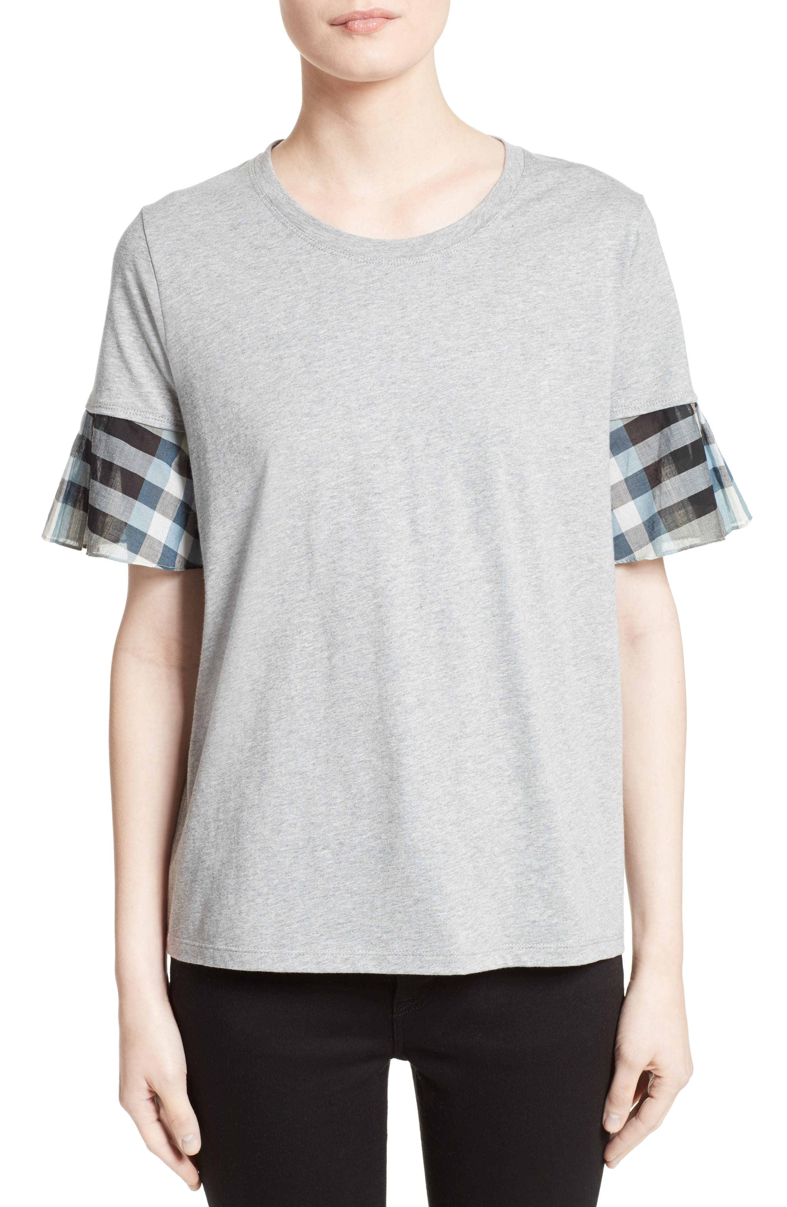 Burberry Covelas Ruffle Sleeve Tee