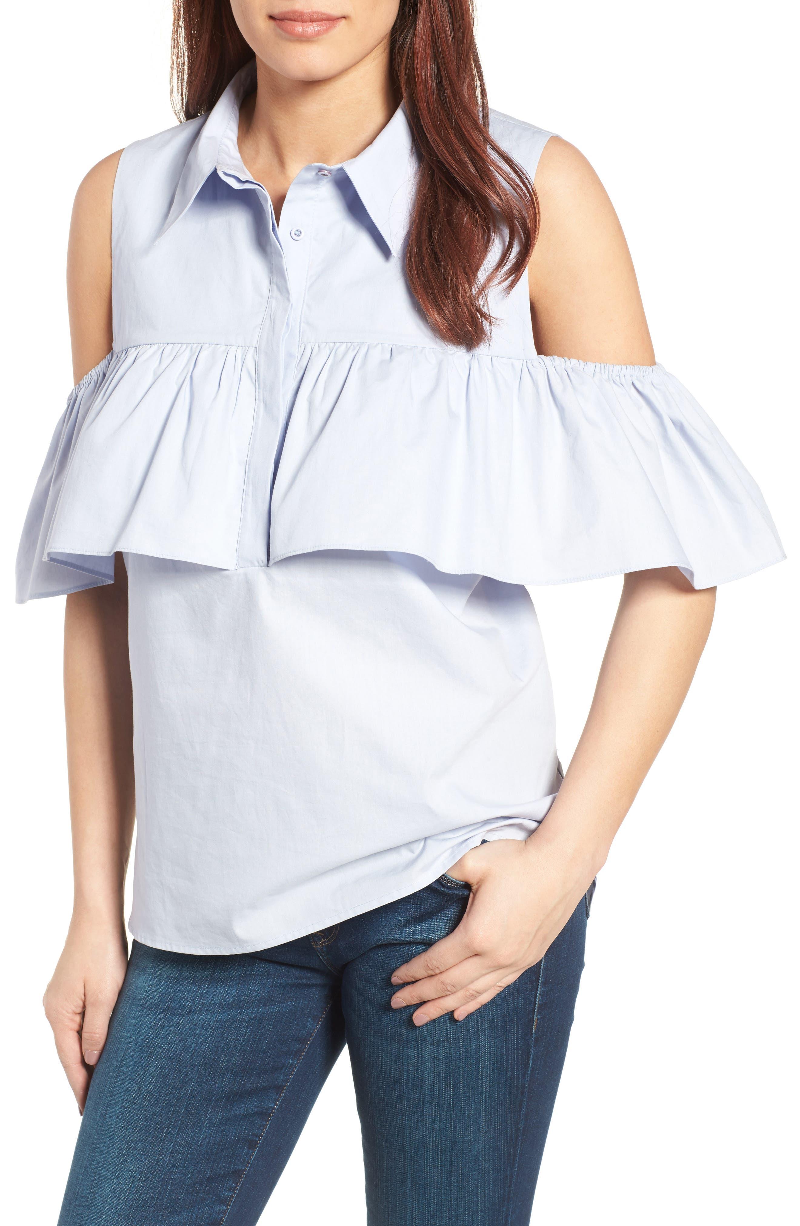 Main Image - Pleione Ruffled Cold Shoulder Top (Regular & Petite)