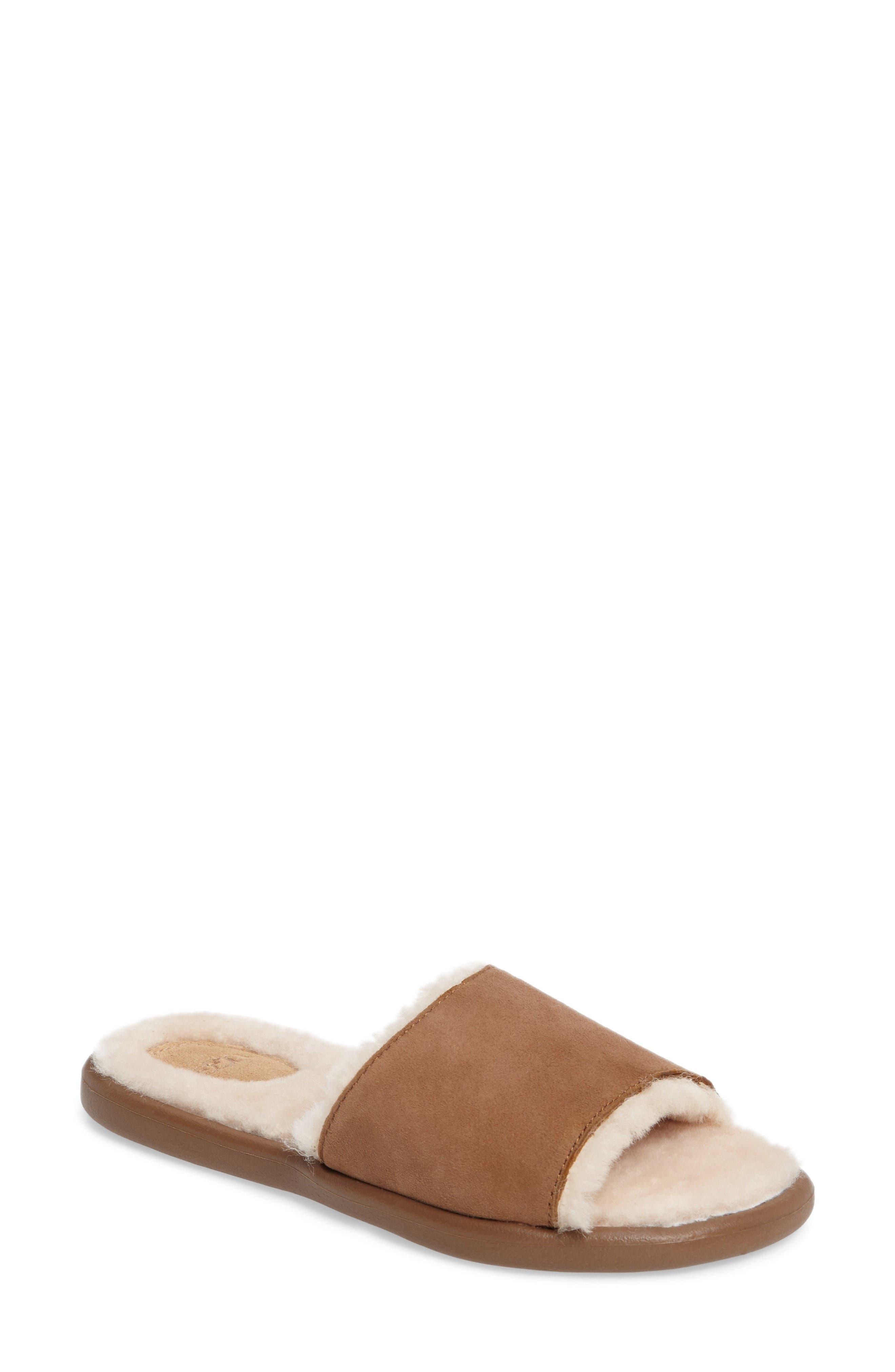 UGG® Breezy Genuine Shearling Slide Sandal (Women)