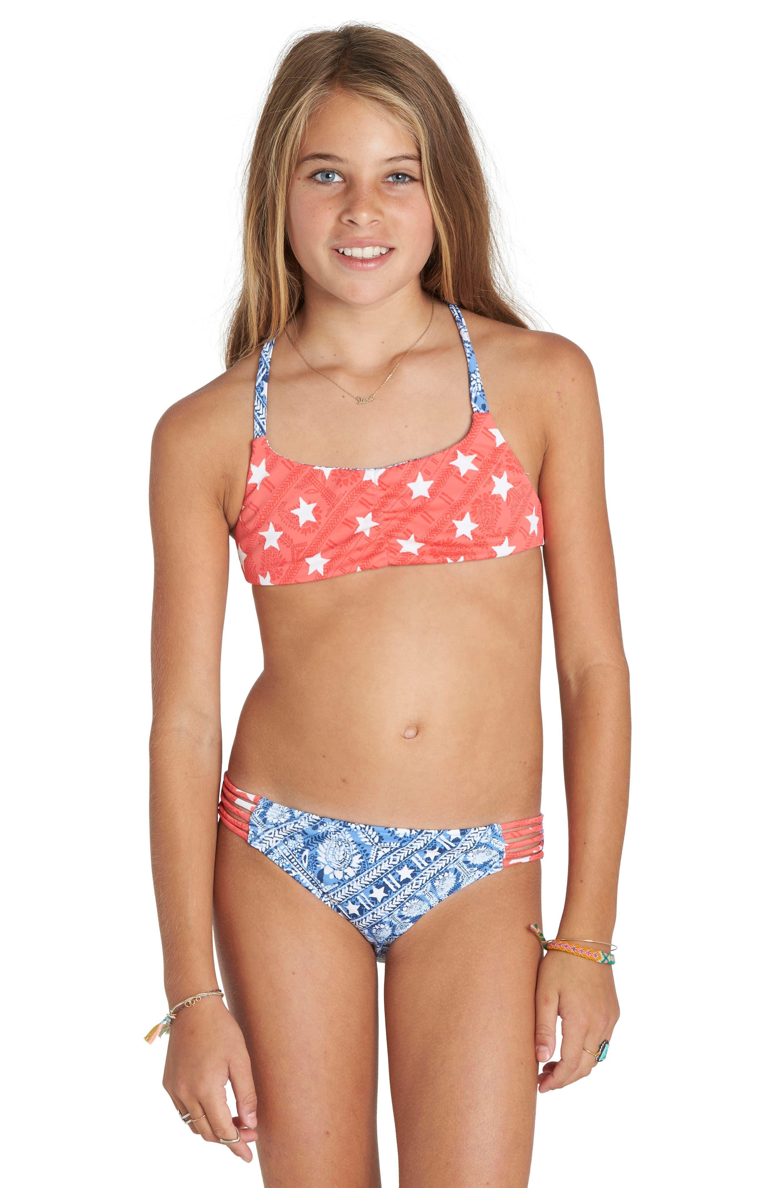 Billabong Starlight Two Piece Reversible Swimsuit Little