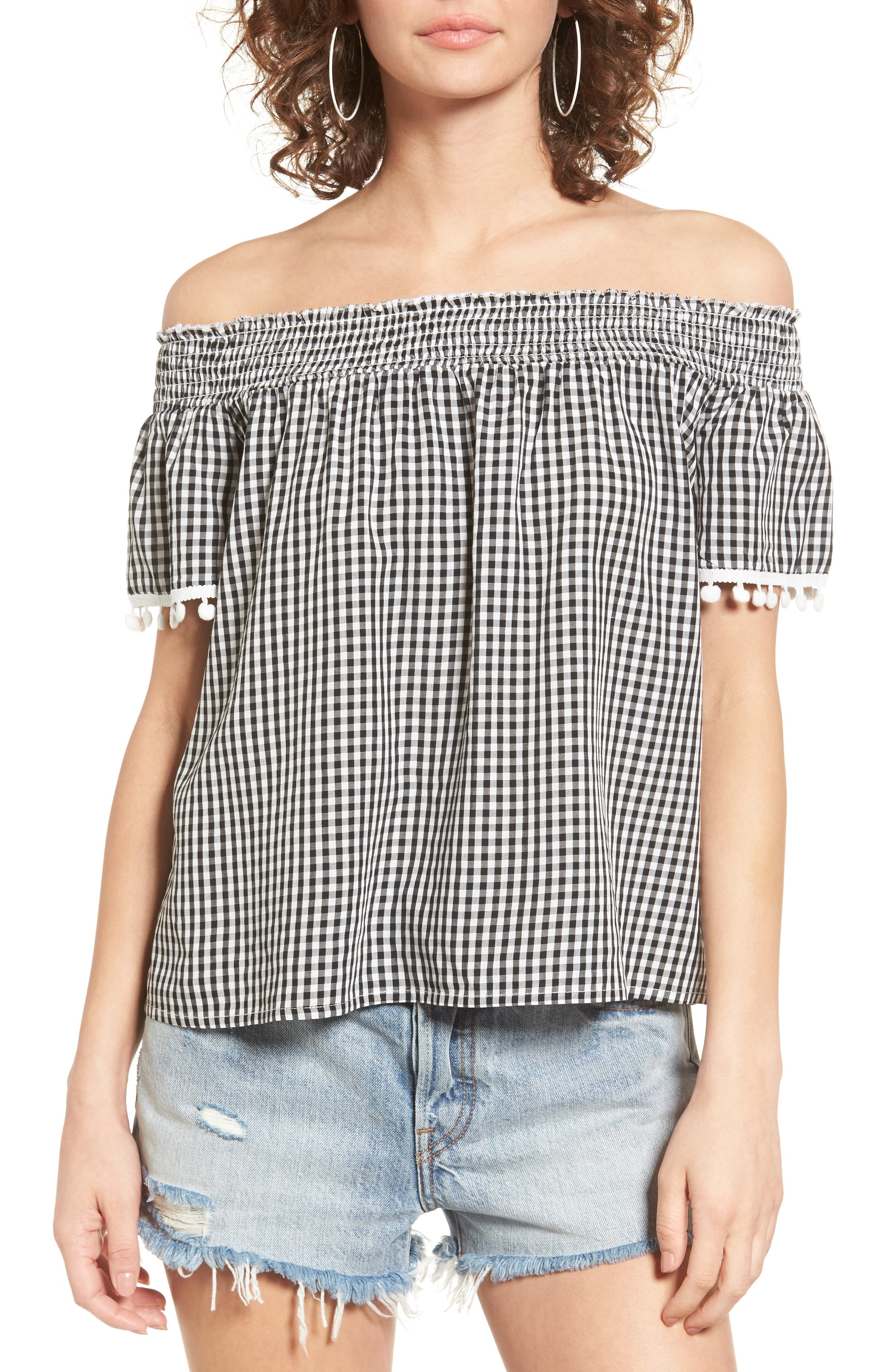 Love, Fire Smocked Check Off the Shoulder Top