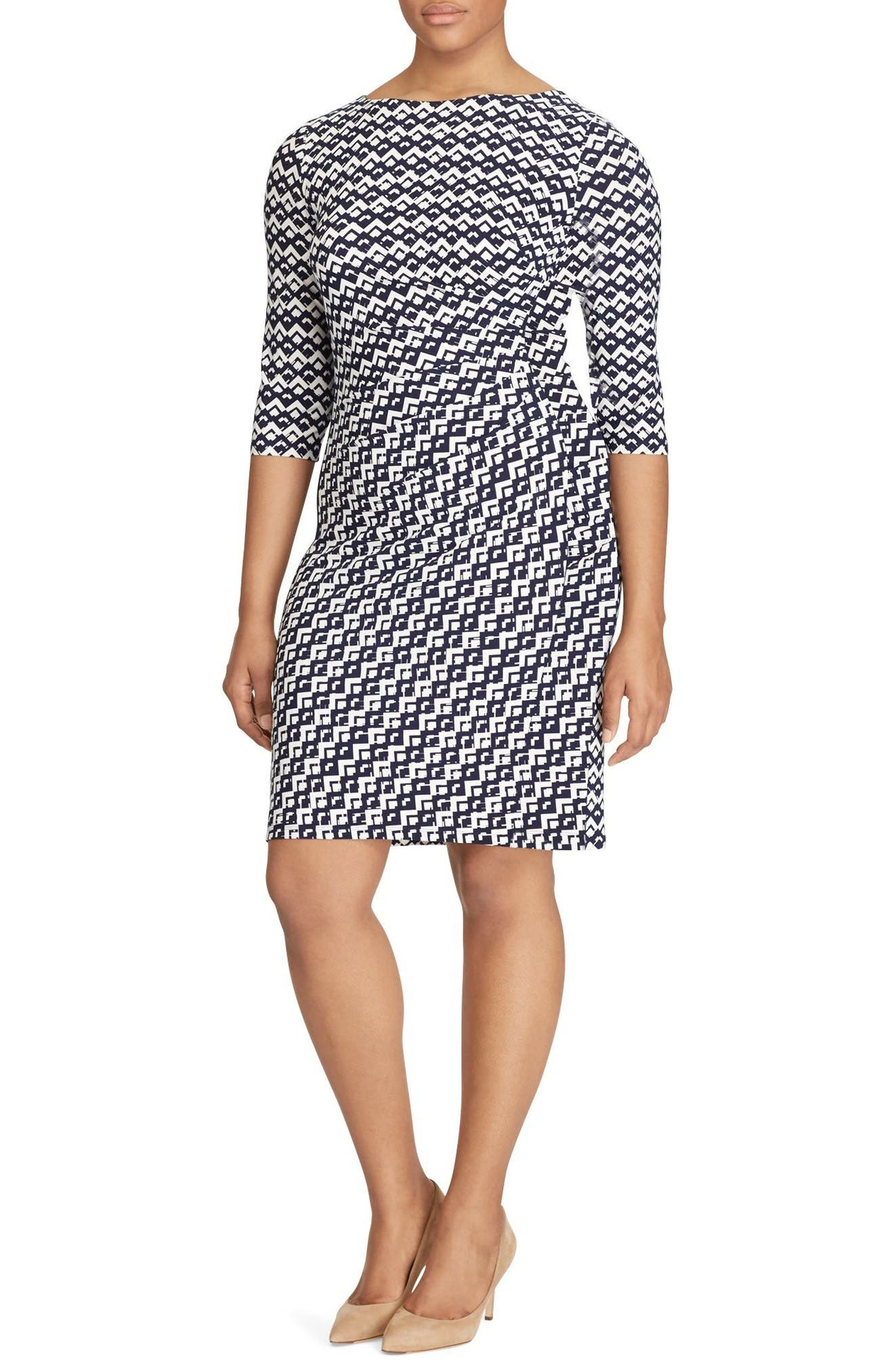 Lauren Ralph Lauren Geo Print Sheath Dress (Plus Size)