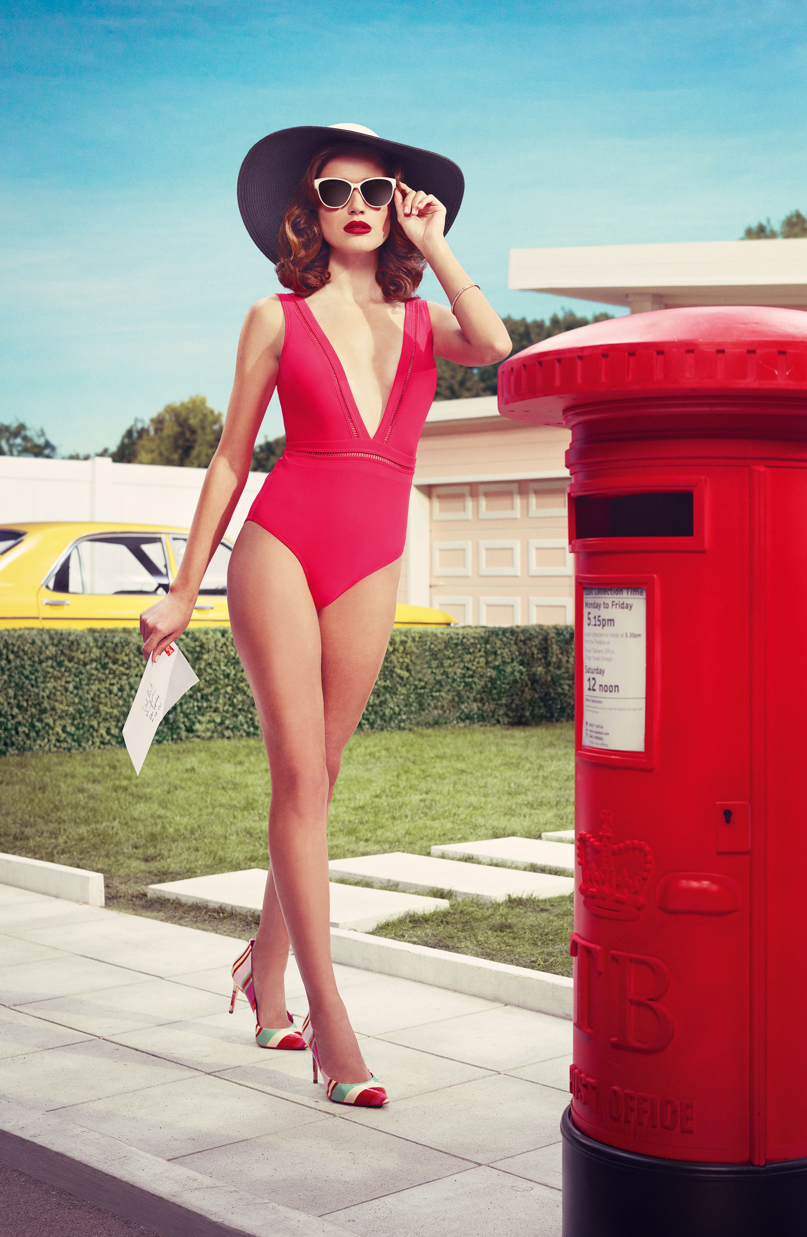 Alternate Image 6  - Ted Baker London Plunge One Piece Swimsuit
