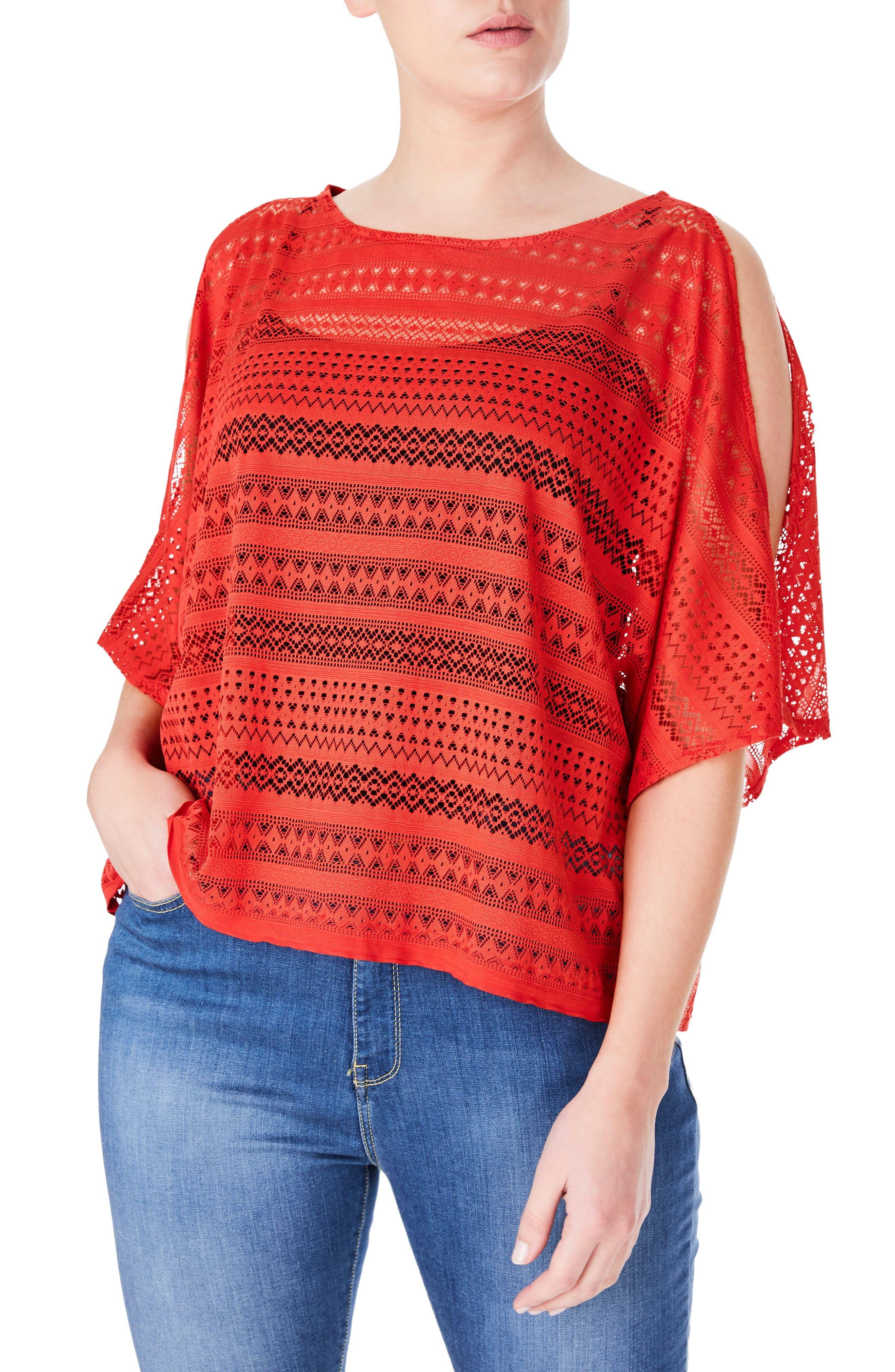 ELVI Lace Cold Shoulder Top (Plus Size)