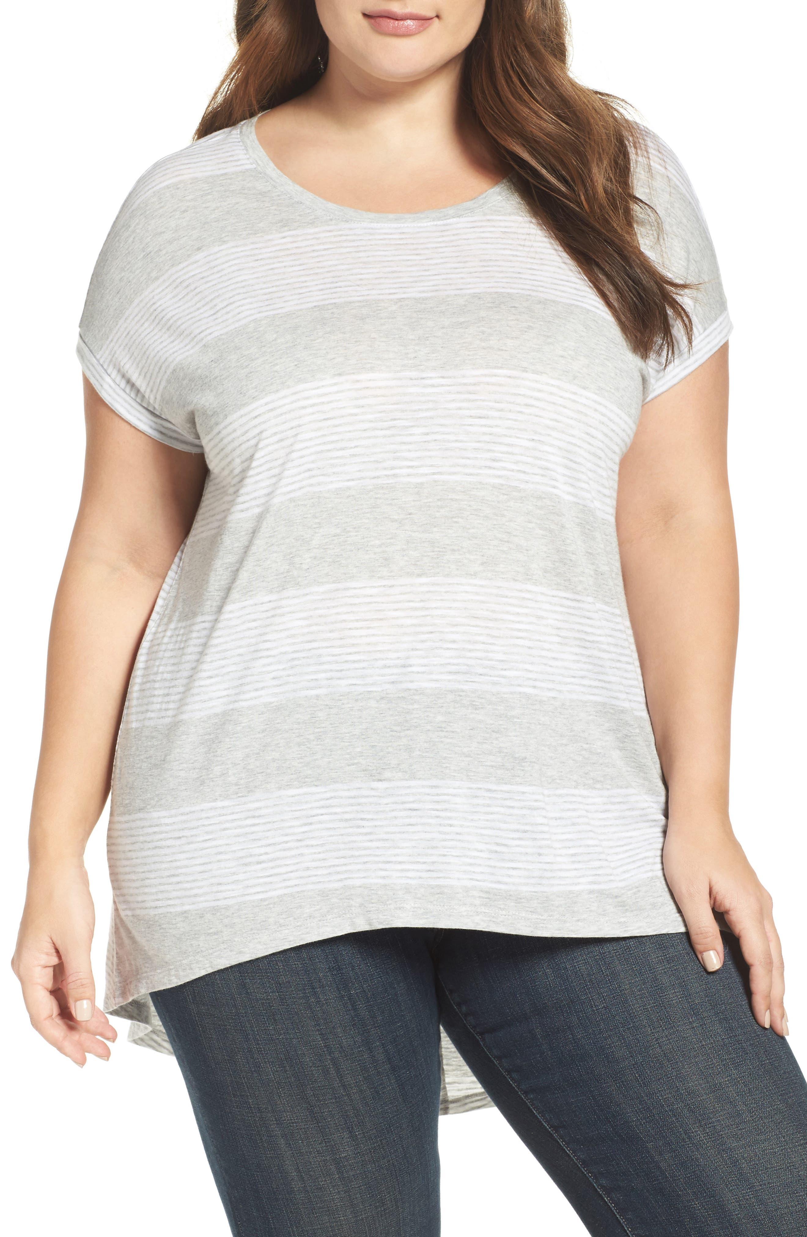 Two by Vince Camuto Block Stripe Split Back Top (Plus Size)