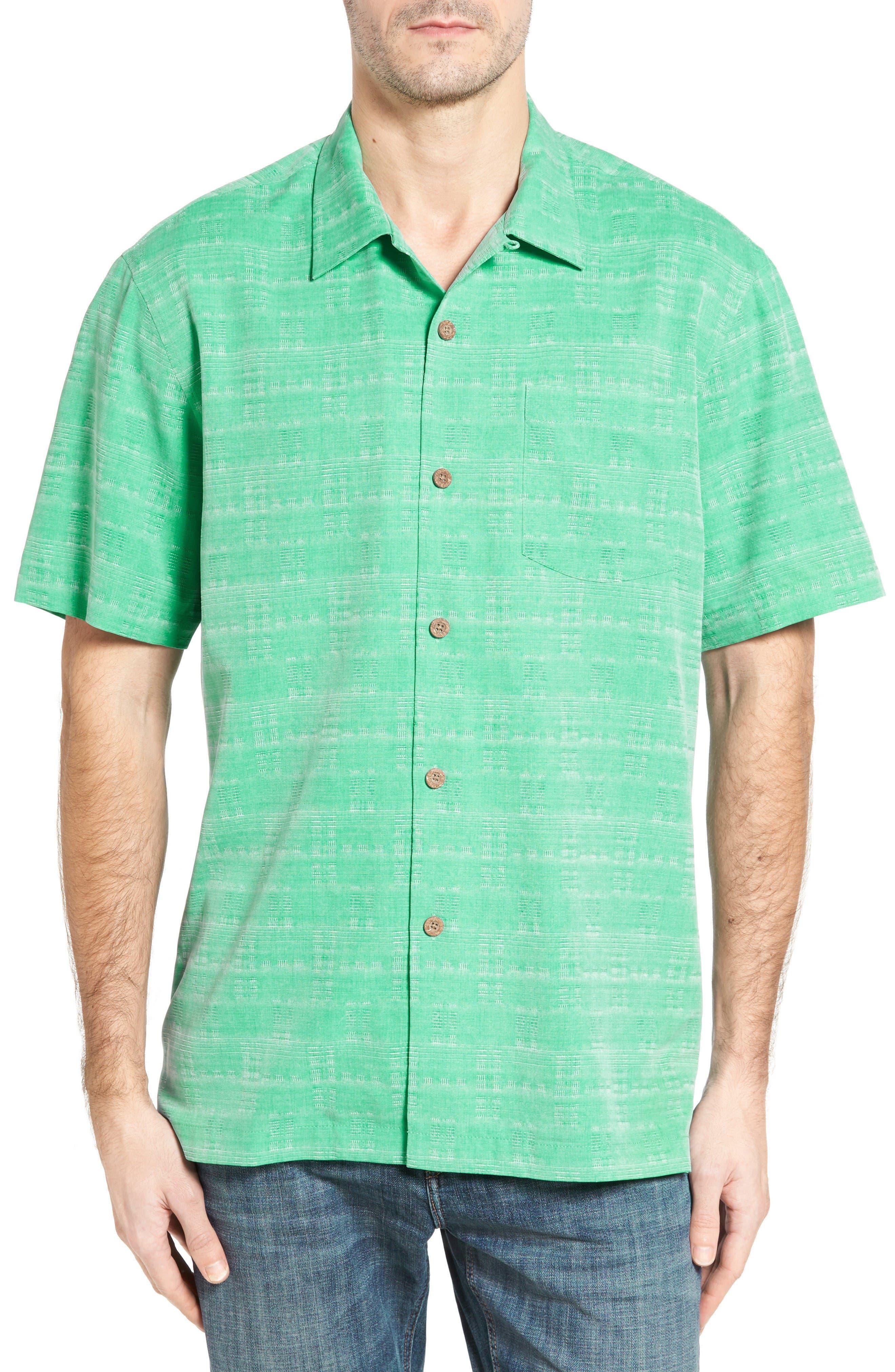 Tommy Bahama Original Fit Jacquard Silk Camp Shirt (Big & Tall)