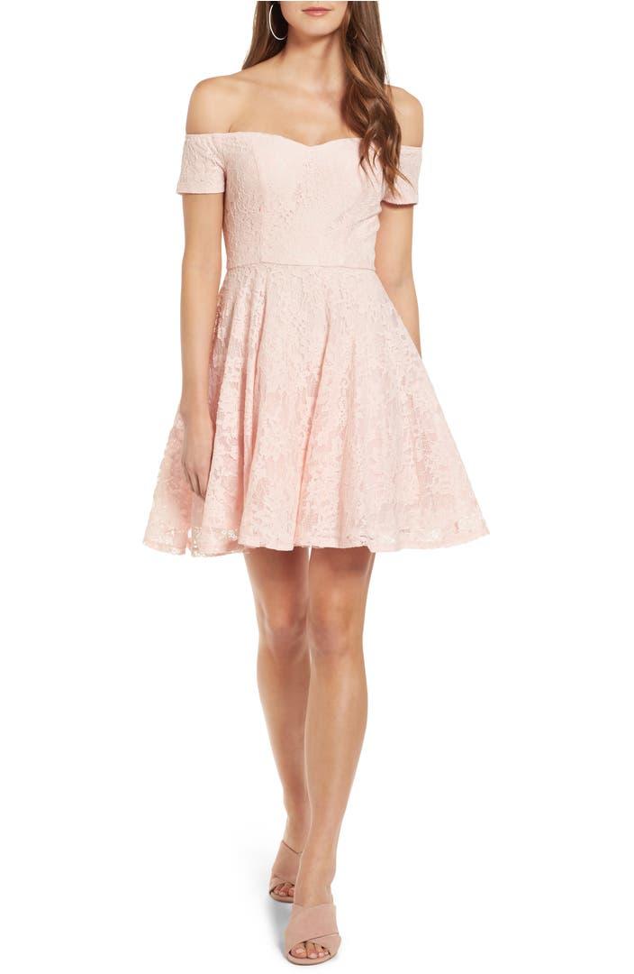 Soprano Lace Off The Shoulder Fit Amp Flare Dress Nordstrom