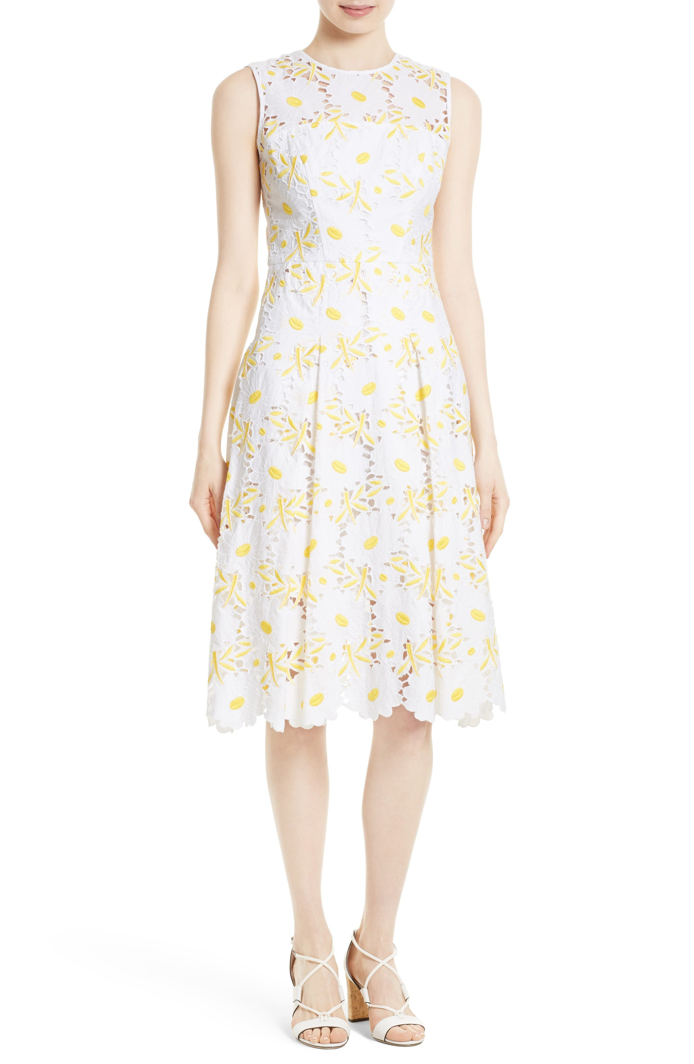 Milly Petal Eyelet Fit & Flare Dress