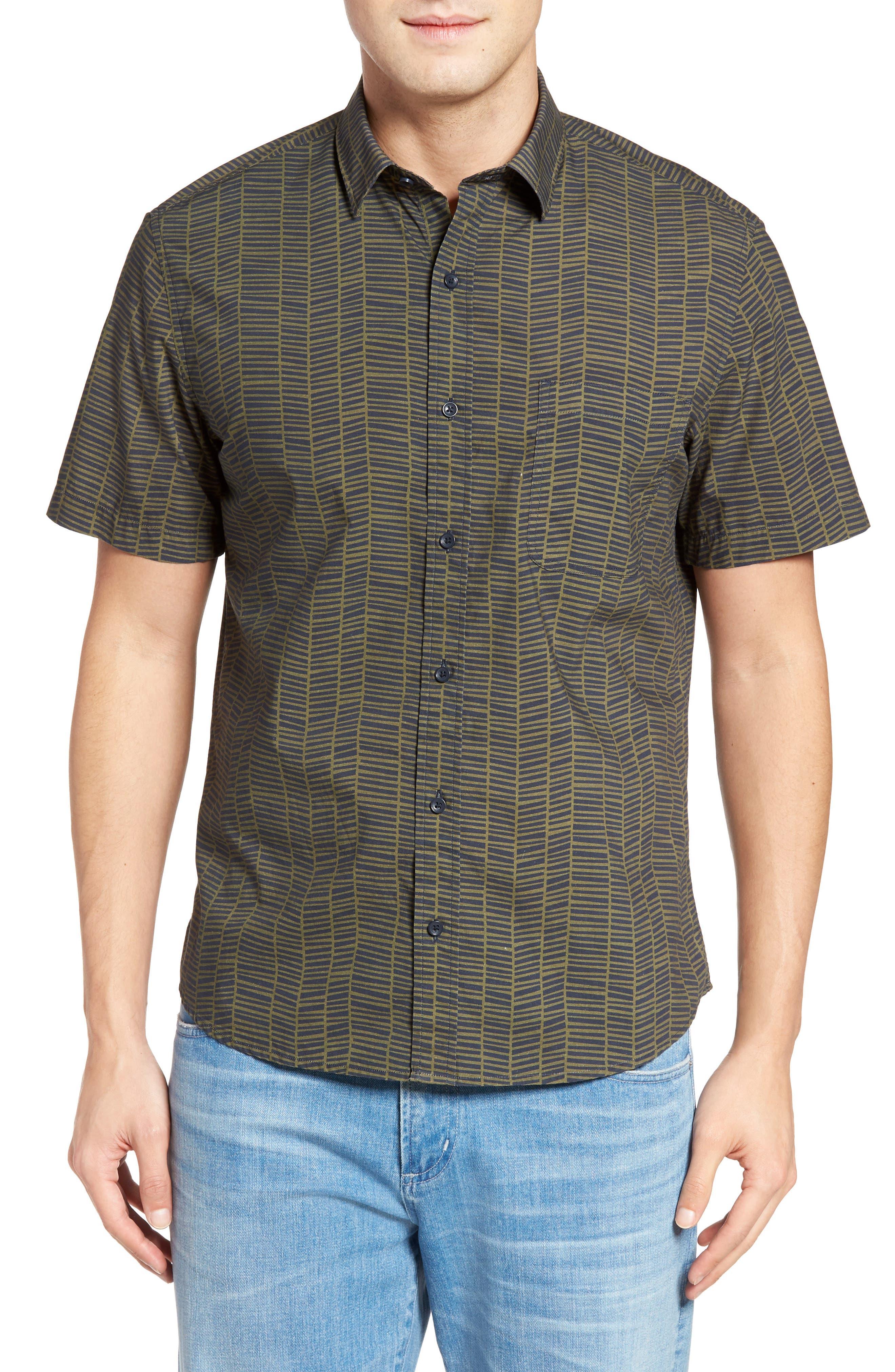 Maker & Company Palm Herringbone Print Sport Shirt