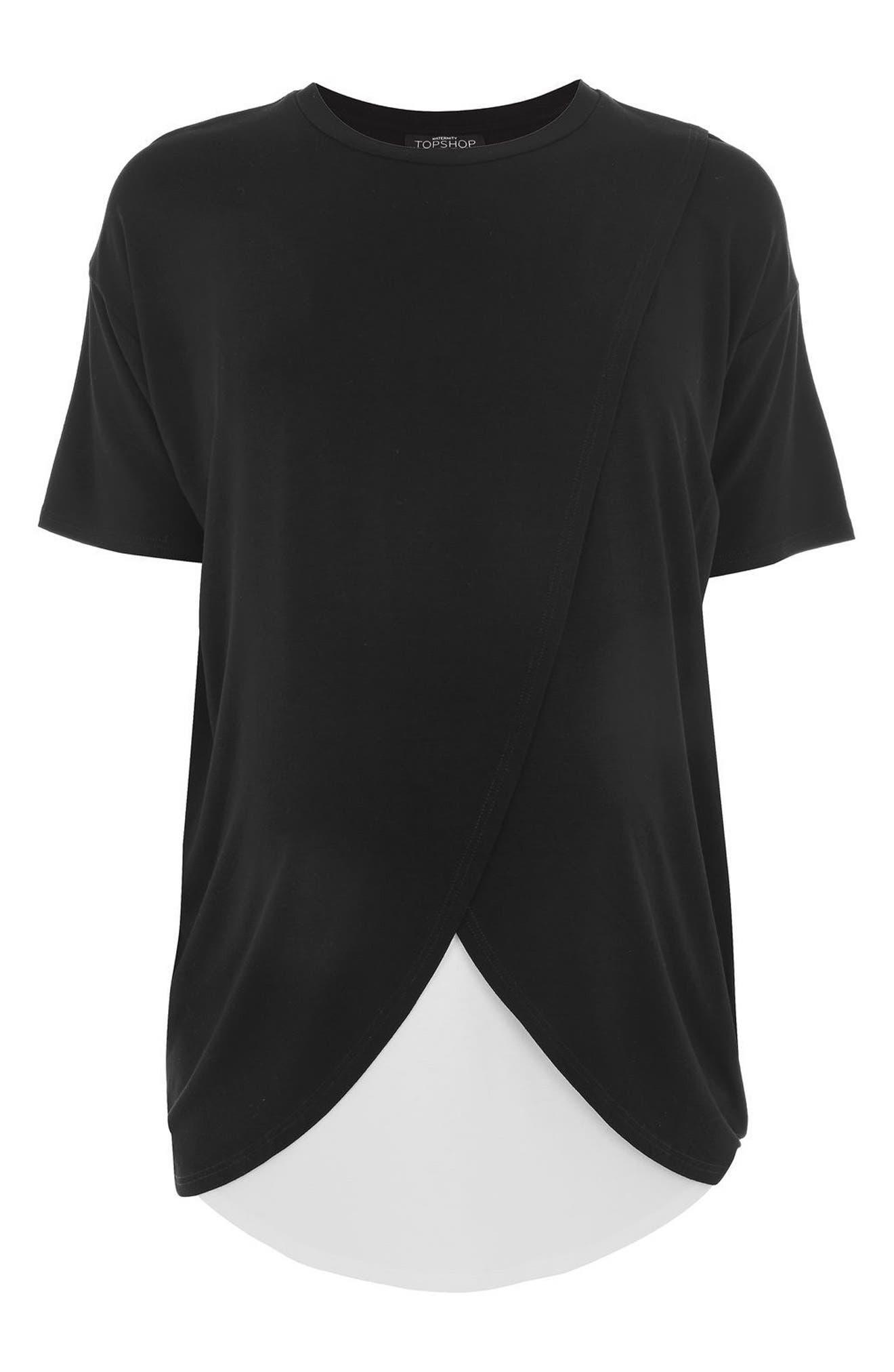 Alternate Image 4  - Topshop Short Sleeve Drape Maternity/Nursing Tee