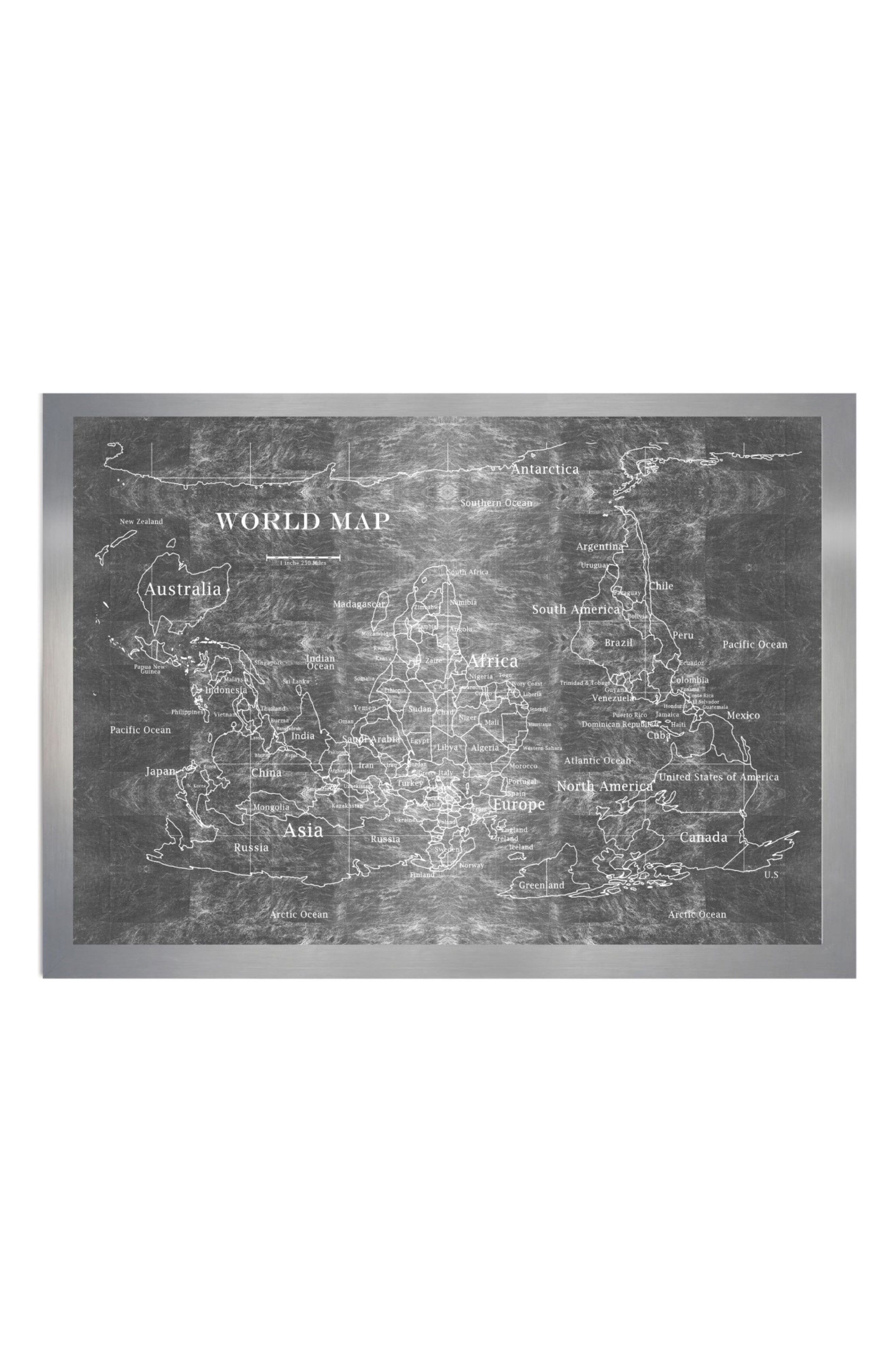 Oliver Gal Upside Down Map of the World Framed Art Print
