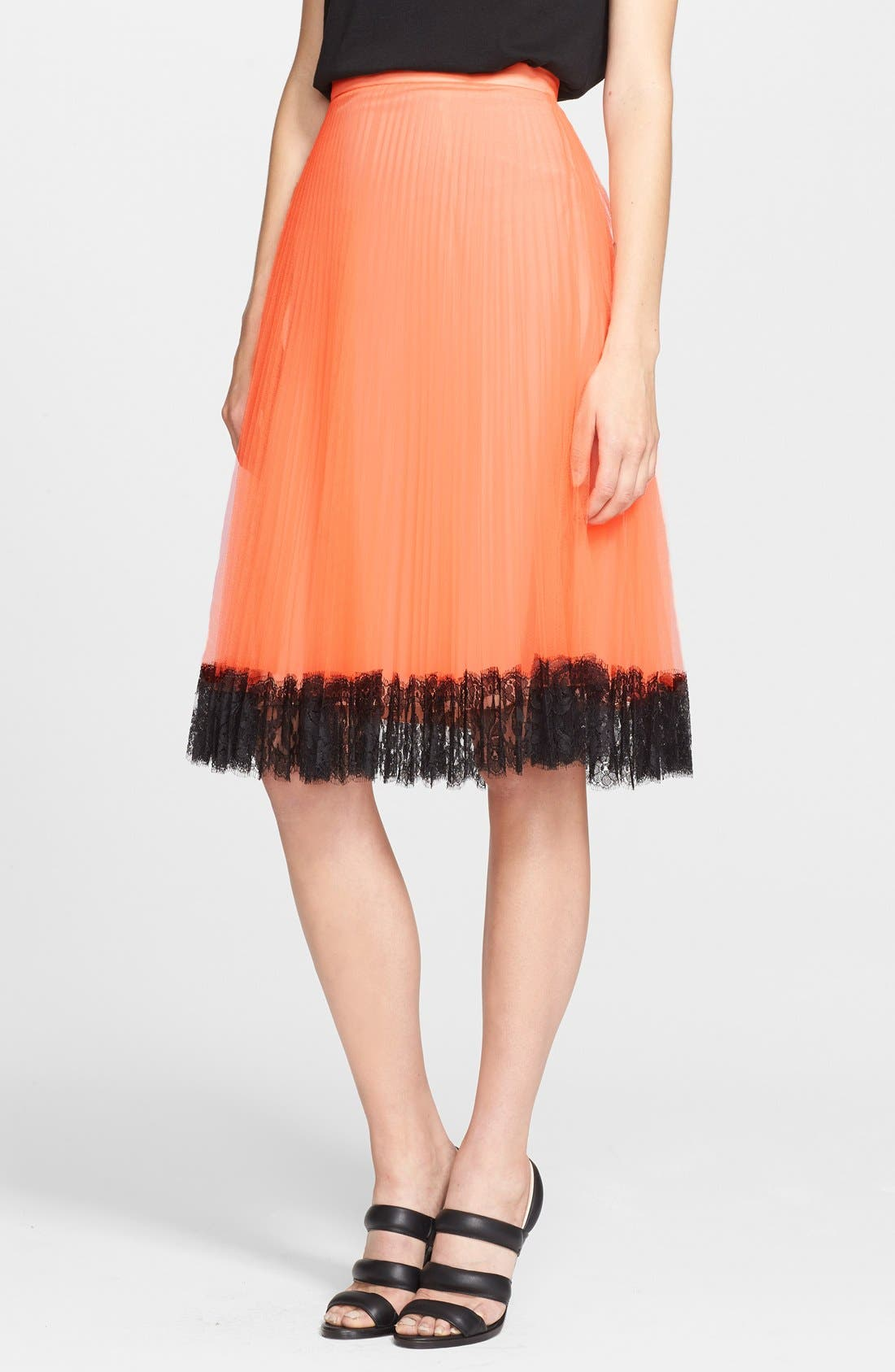 Alternate Image 1 Selected - Christopher Kane Lace Trim Pleated Tulle Skirt
