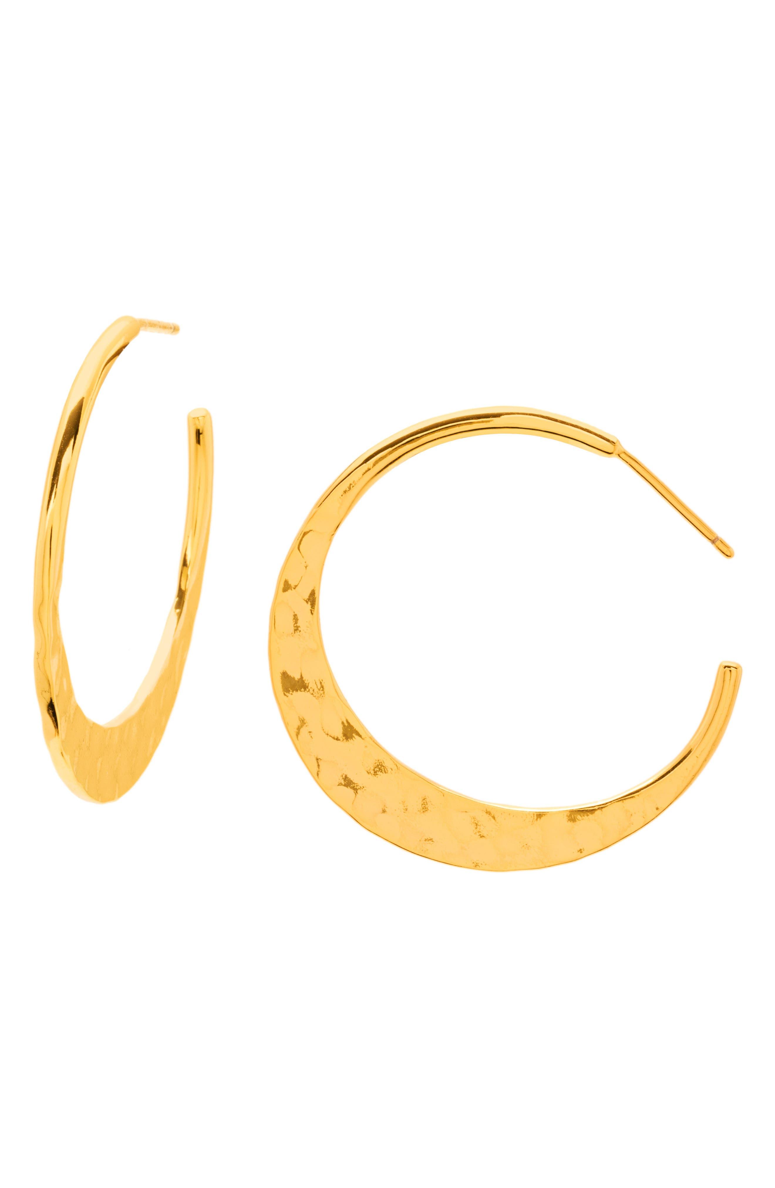 Main Image - gorjana Silas Hammered Hoop Earrings