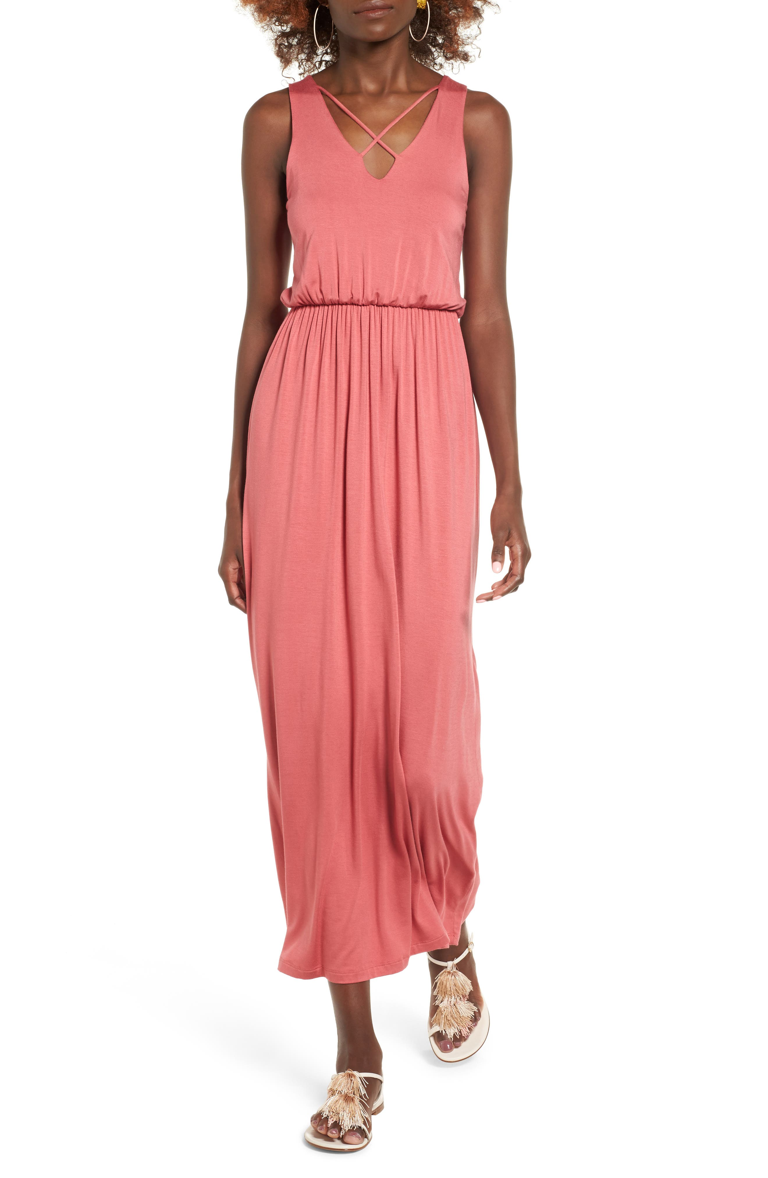 Main Image - Lush Cross Front Maxi Dress