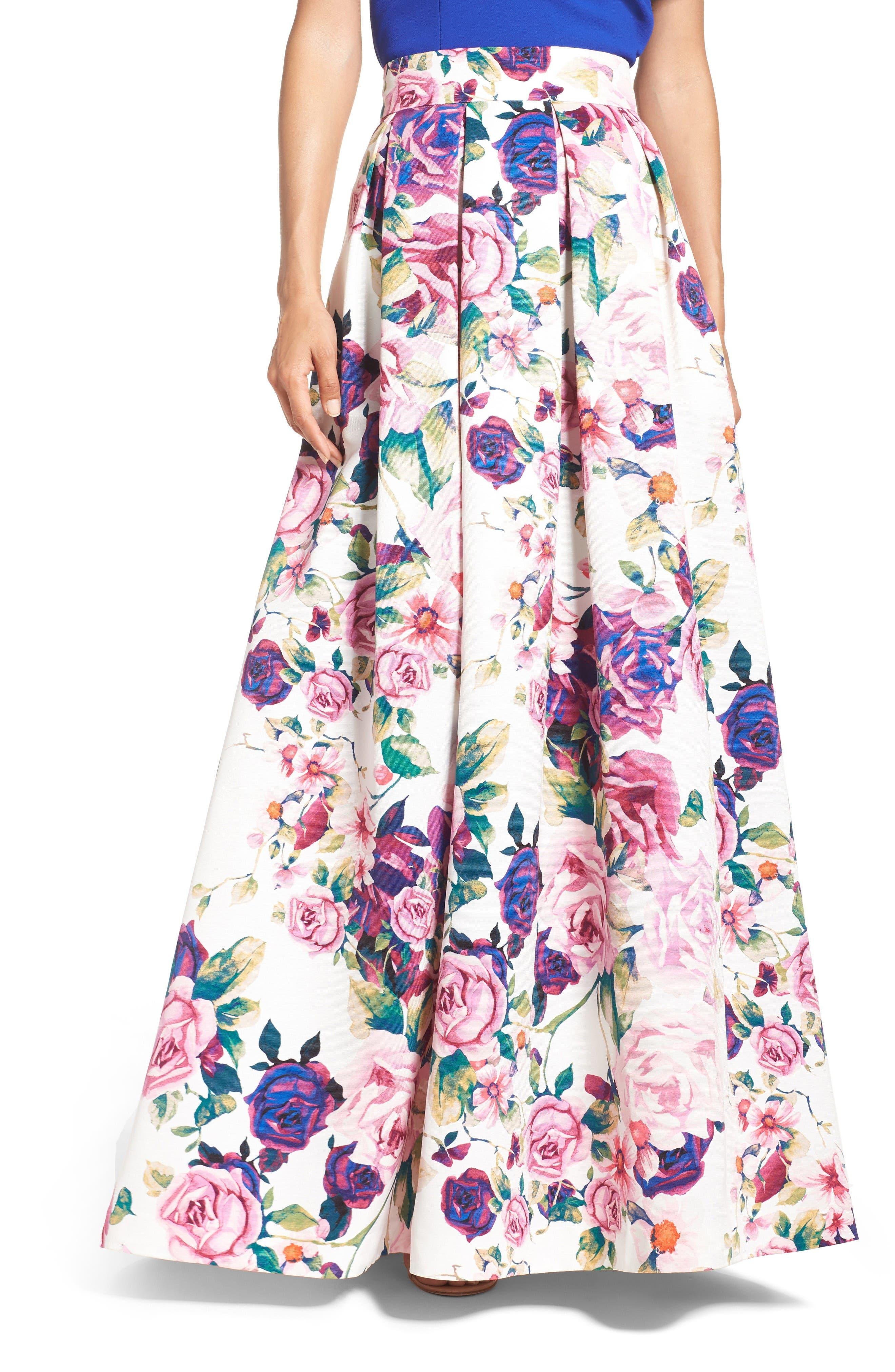 Eliza J Floral Print Ball Skirt