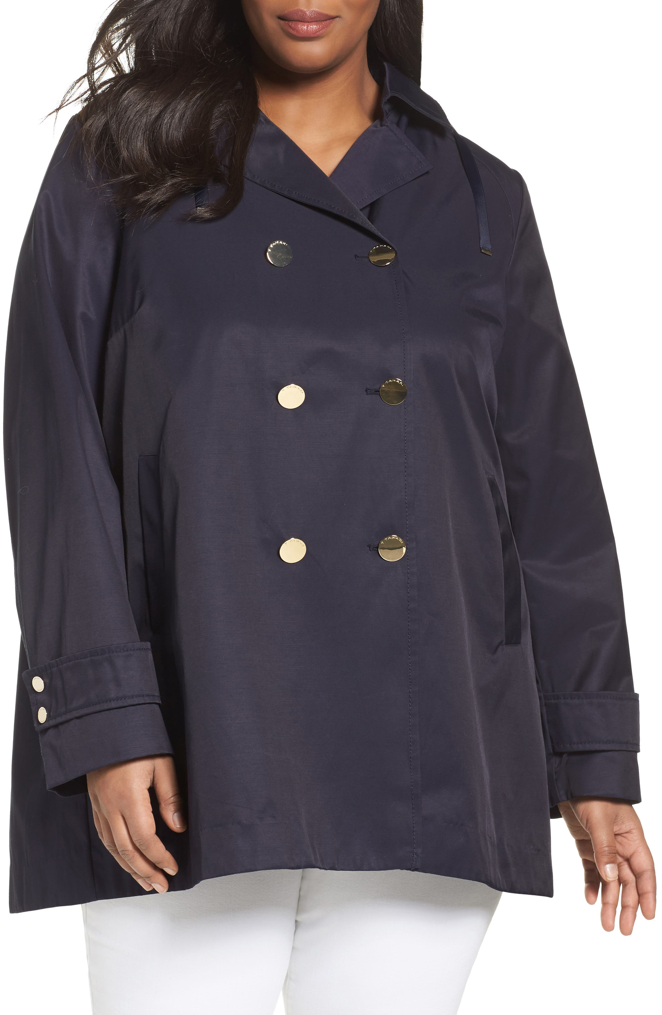 Tahari A-Line Trench Coat with Hood (Plus Size)