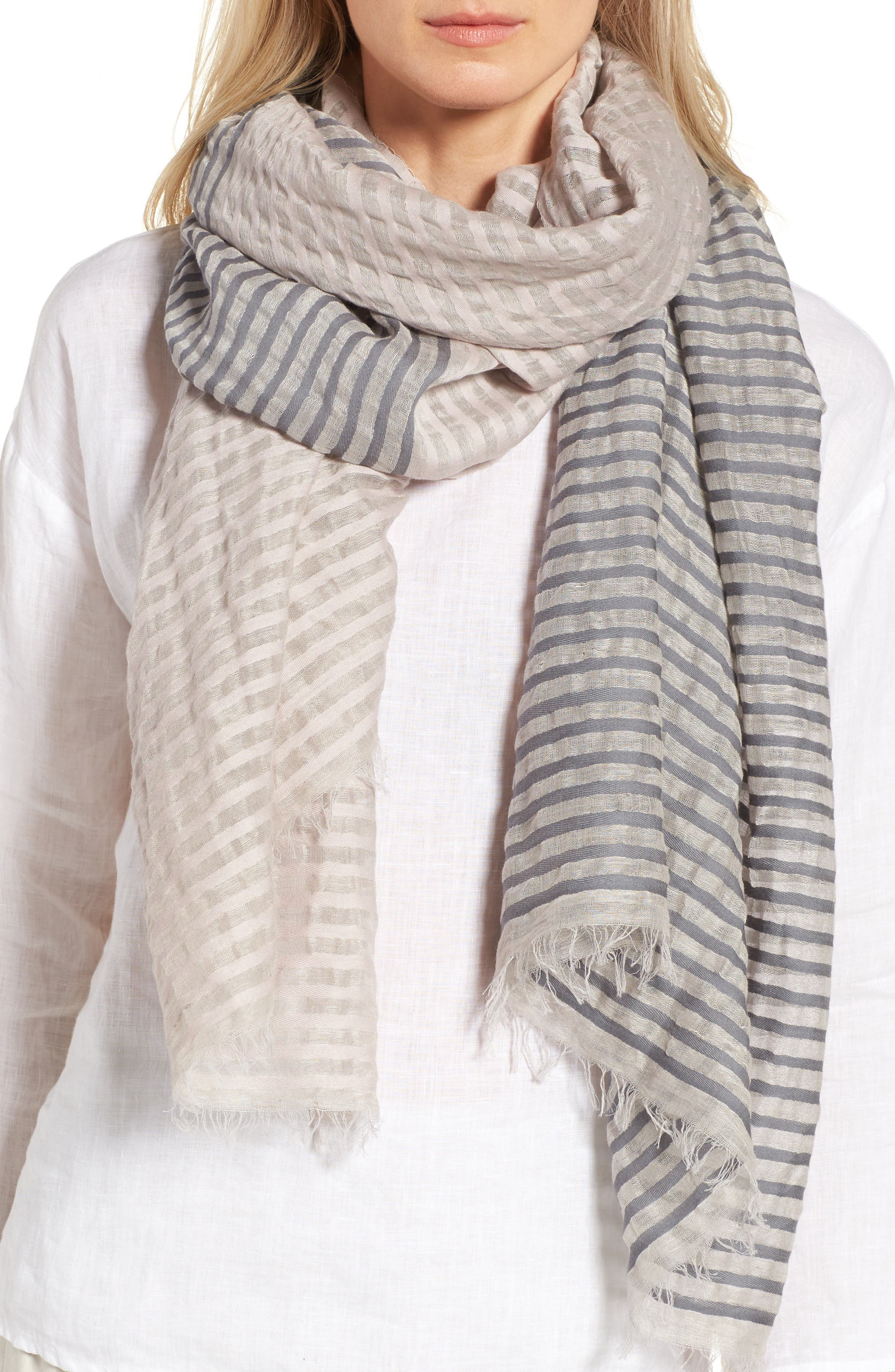 Eileen Fisher Stripe Organic Cotton & Linen Scarf