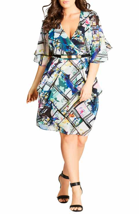 City Chic Orchid Belted Faux Wrap Dress (Plus Size)
