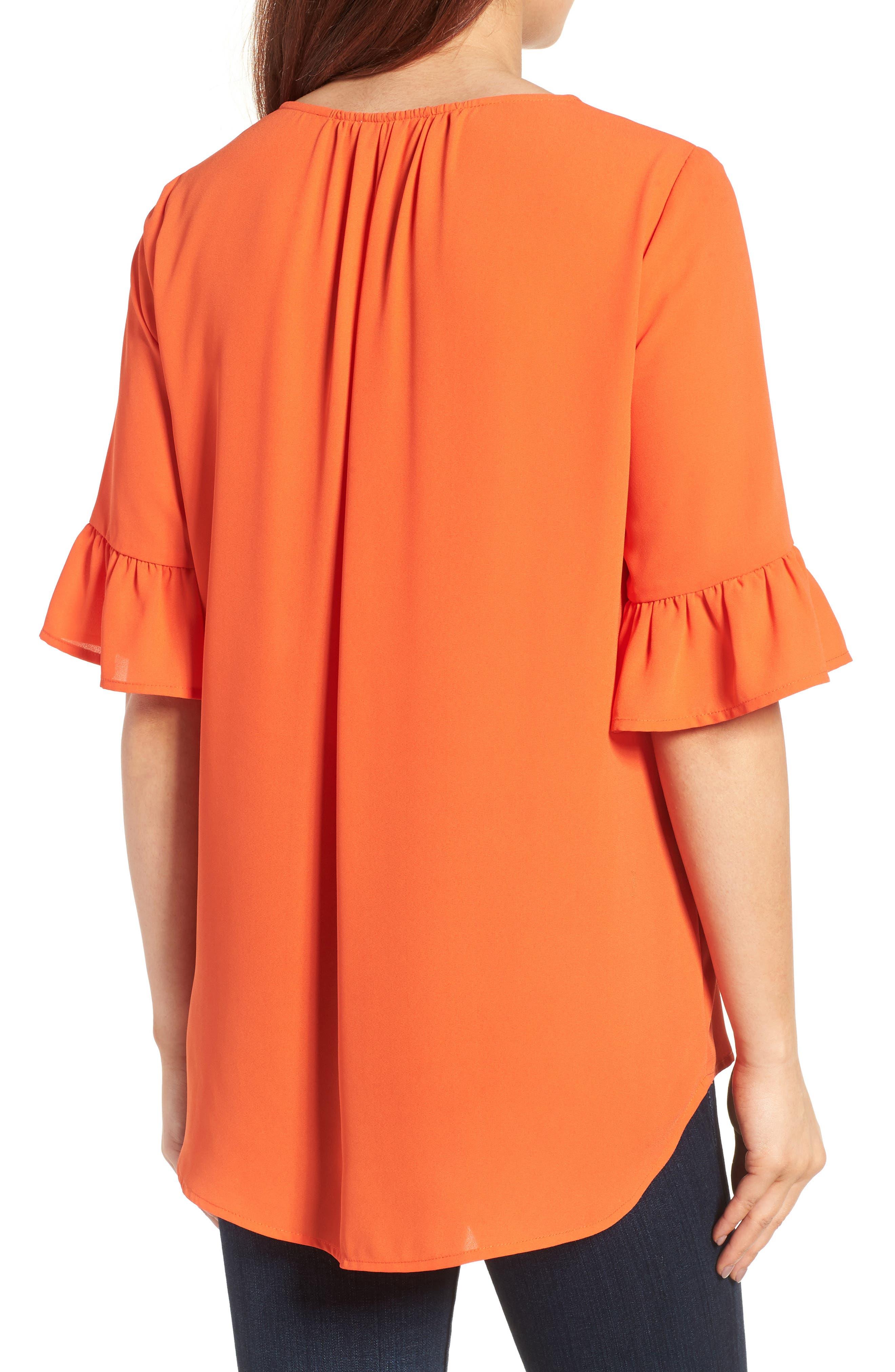 Alternate Image 2  - Pleione Ruffle Sleeve Blouse (Regular & Petite)