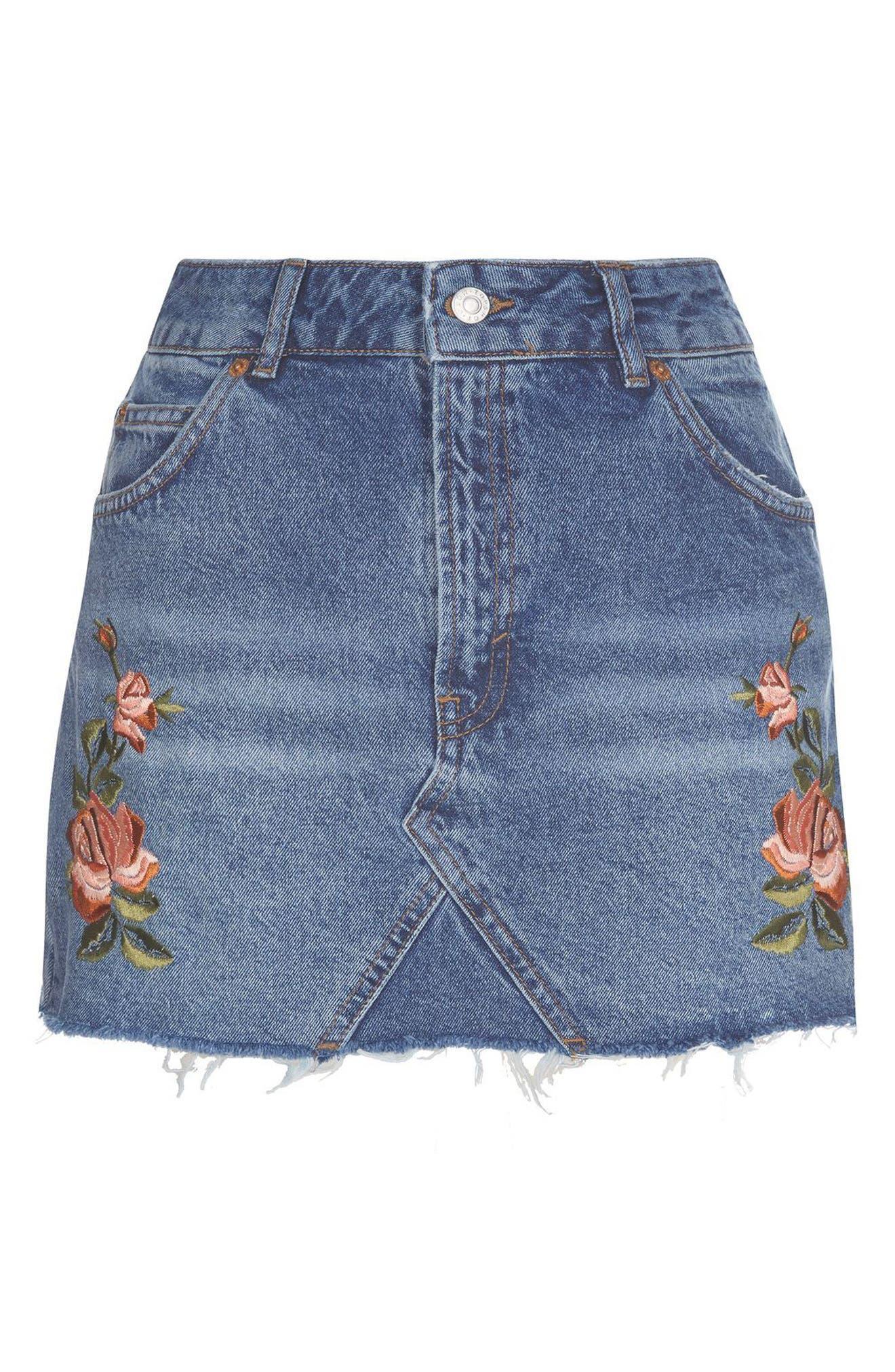 Alternate Image 5  - Topshop Rose Denim Miniskirt (Petite)