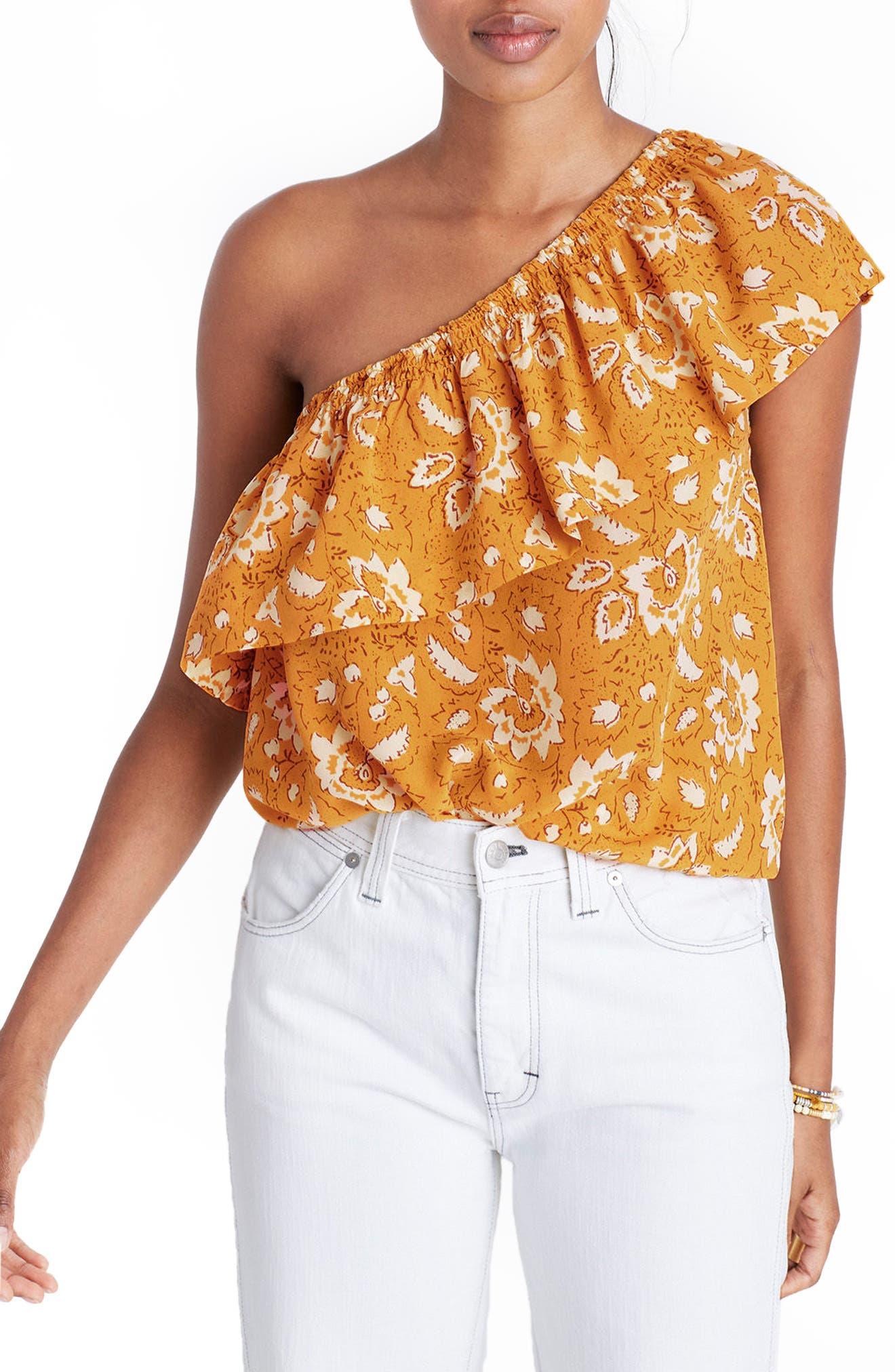 Alternate Image 1 Selected - Madewell Floral One-Shoulder Silk Tank