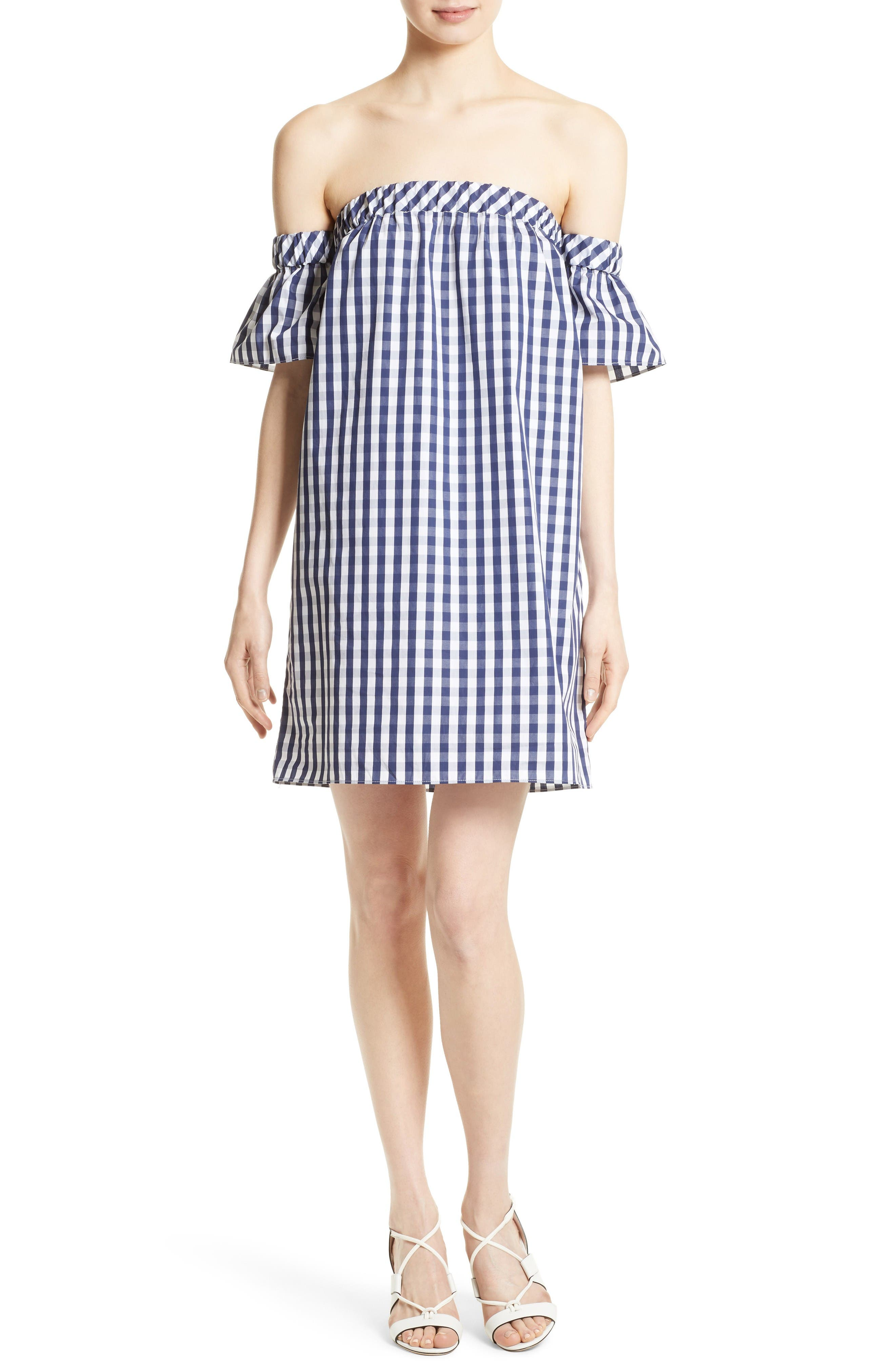 Milly Gingham Off the Shoulder Shift Dress